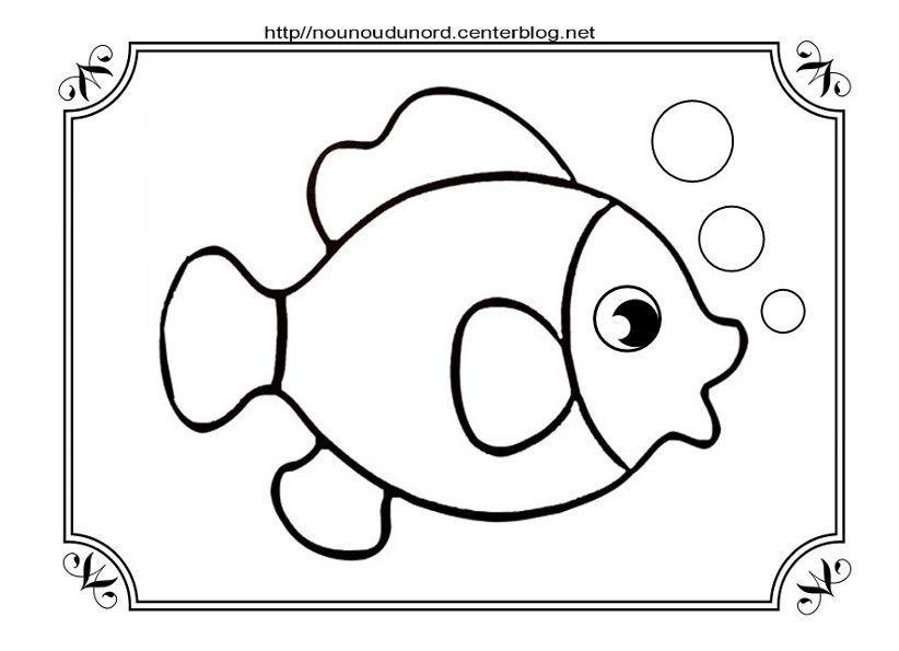 Poisson coloriage pour gommettes et en couleur - Dessin de poisson facile ...