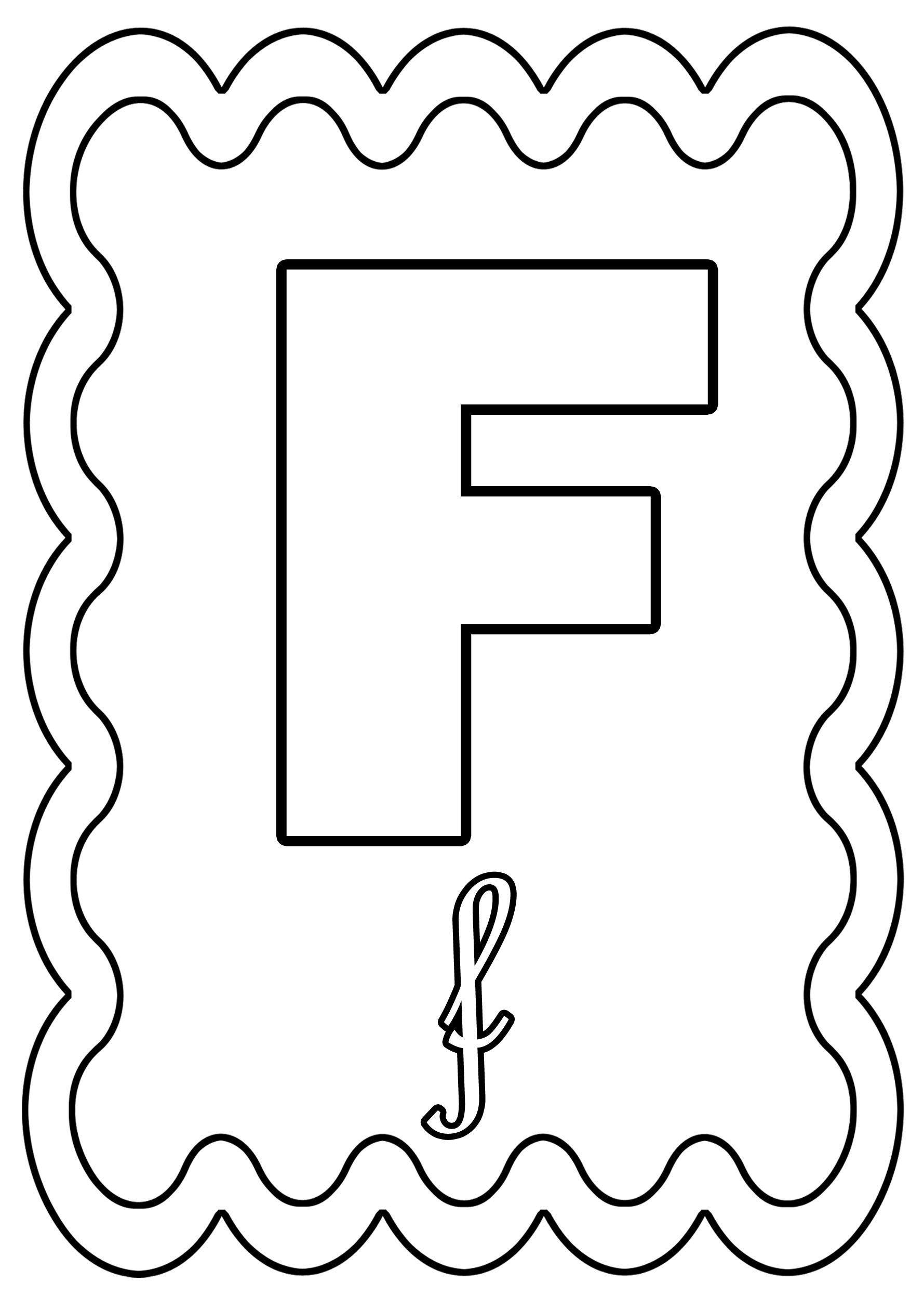 Coloriage Lettre F à colorier ou à gommettes.
