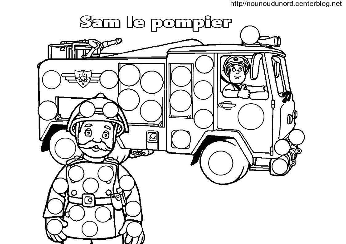 Sam le pompier coloriage pour les gommettes - Coloriage de camion de pompier ...