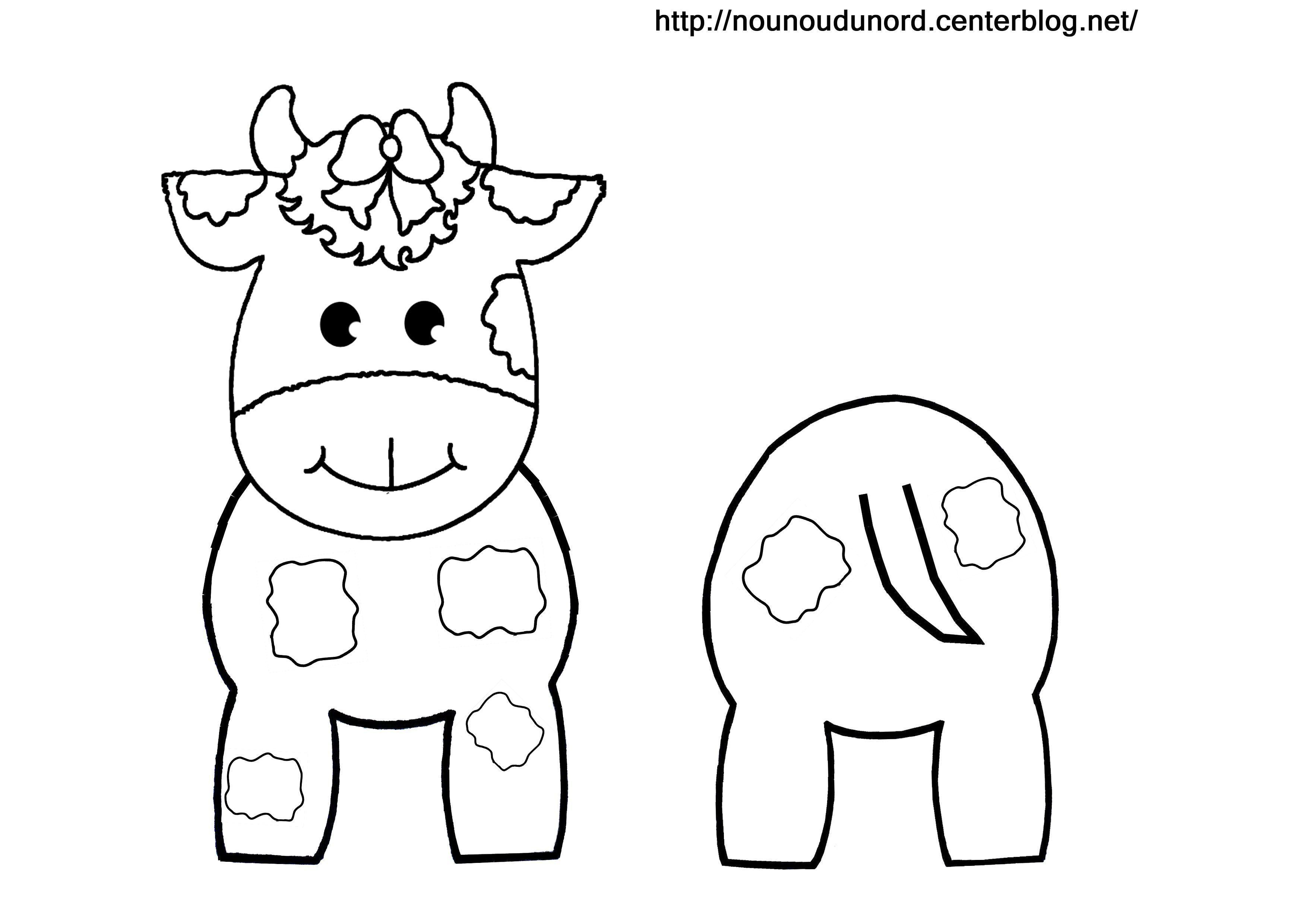 Coloriage vache pour rouleau de papier wc - Bricolage rouleau papier toilette animaux ...