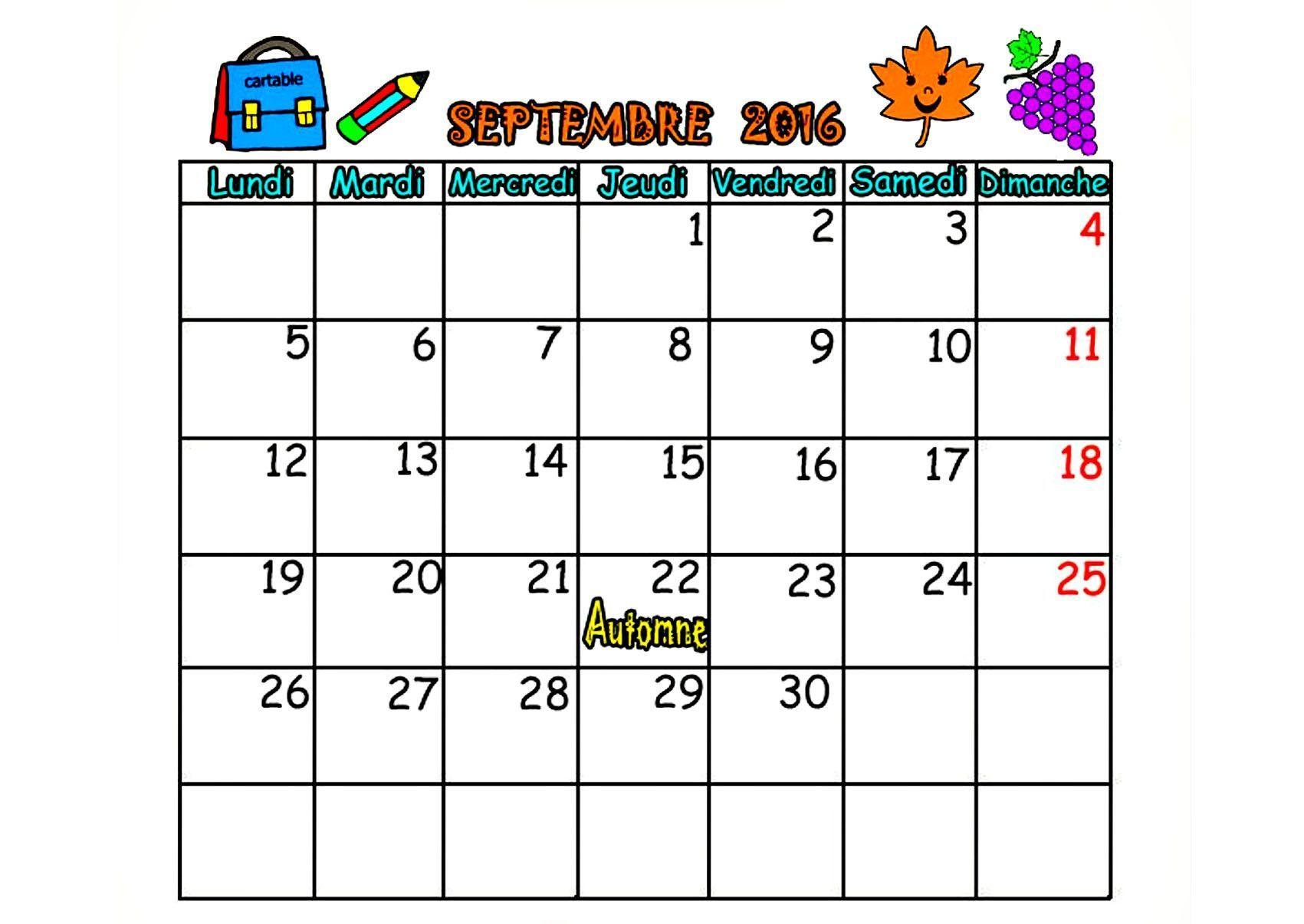 Calendrier Mois De Septembre.Calendrier 2016 Mois Septembre Octobre Novembre Decembre
