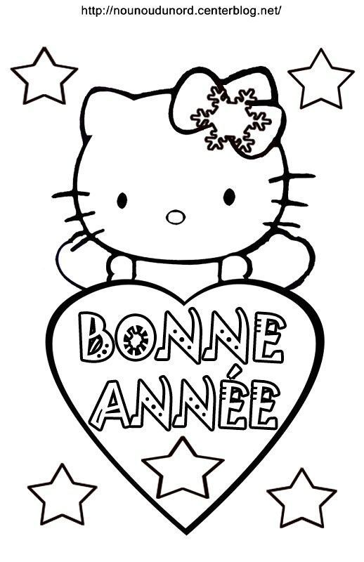 Coloriage bonne annee - Dessin de hello kitty facile ...