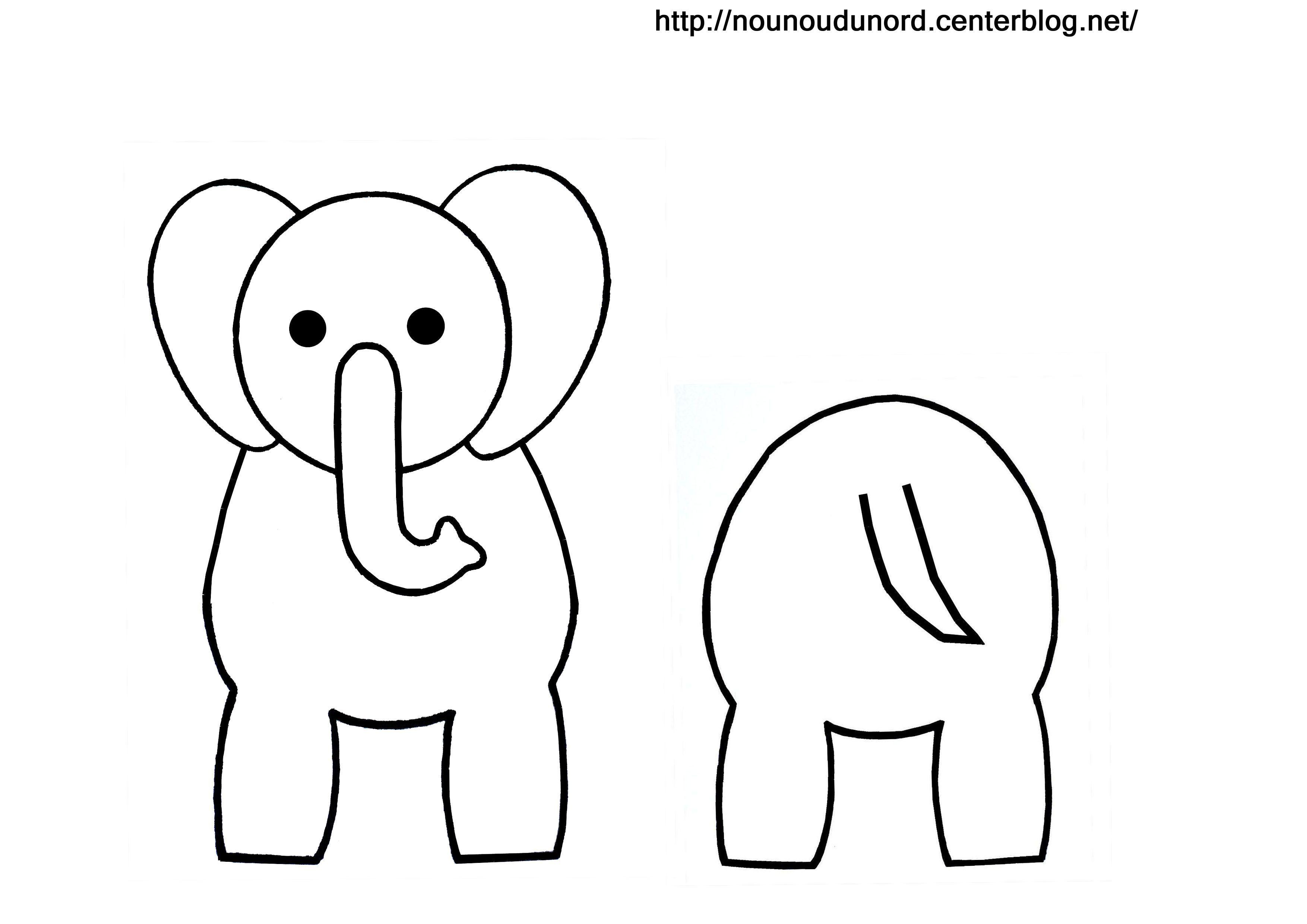 Coloriage animaux pour rouleau wc - Elephant image dessin ...
