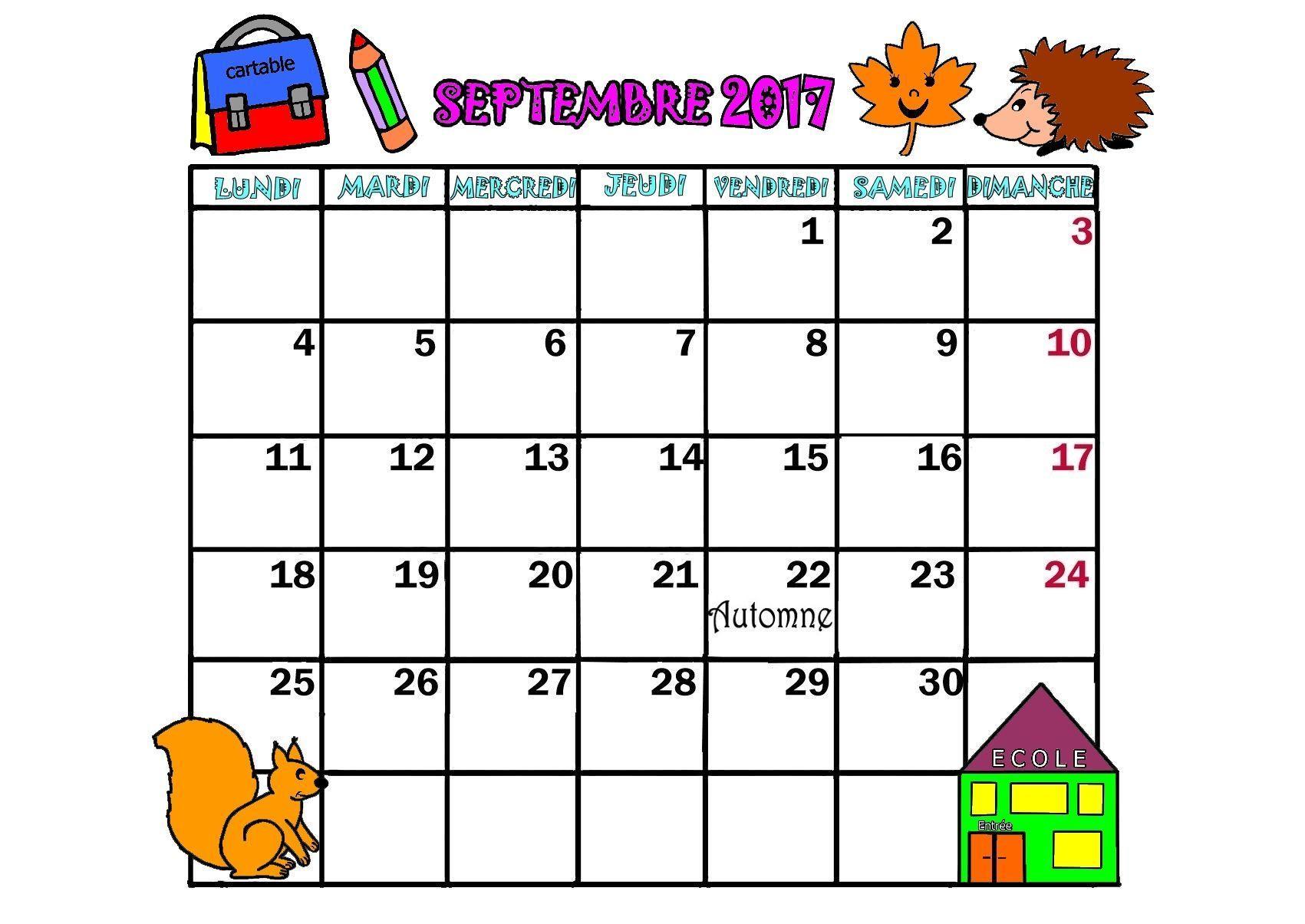 Calendrier 2017 mois septembre octobre novembre decembre - Calendrier lune septembre 2017 ...