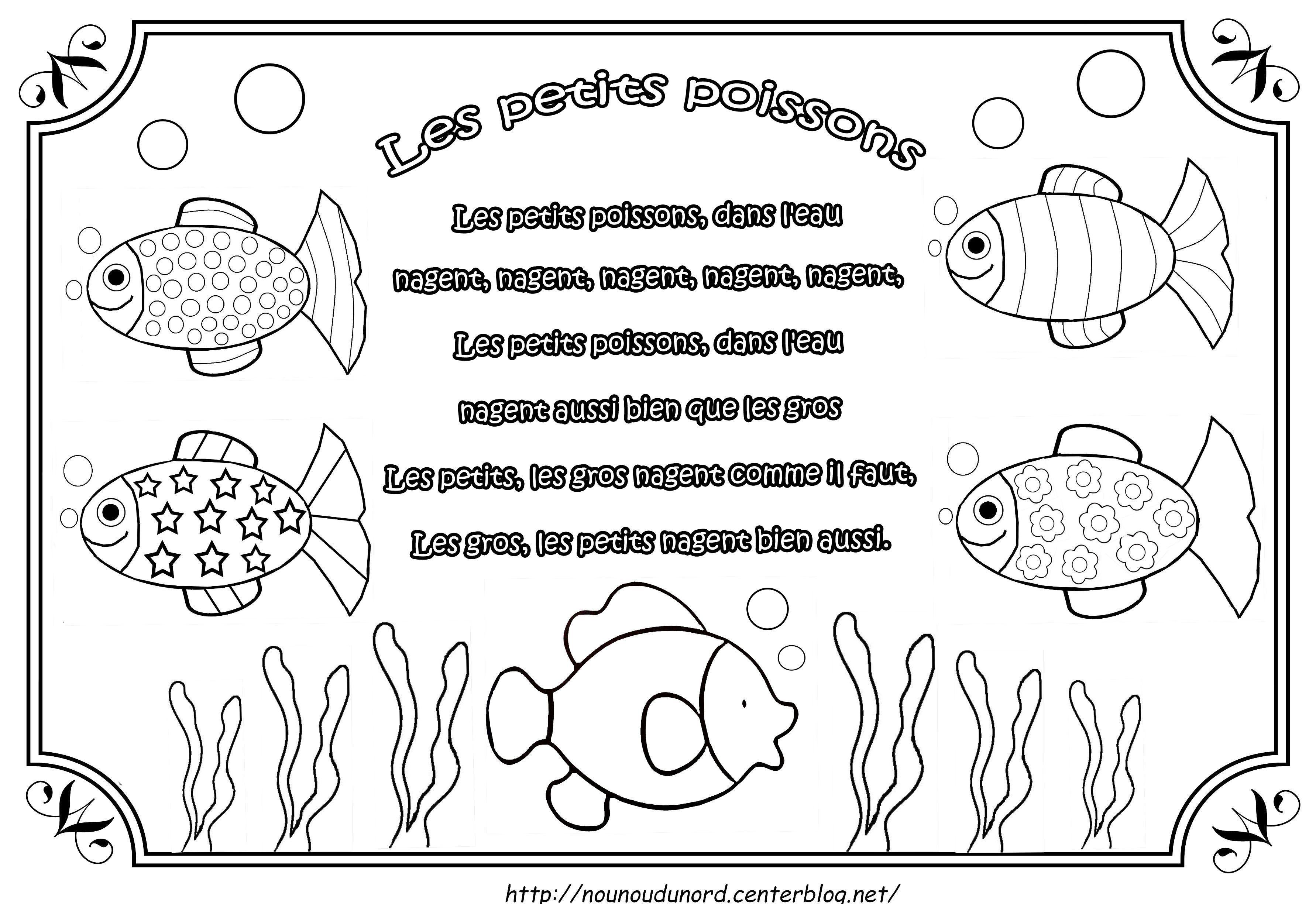 comptine les petits poissons illustr e par nounoudunord. Black Bedroom Furniture Sets. Home Design Ideas