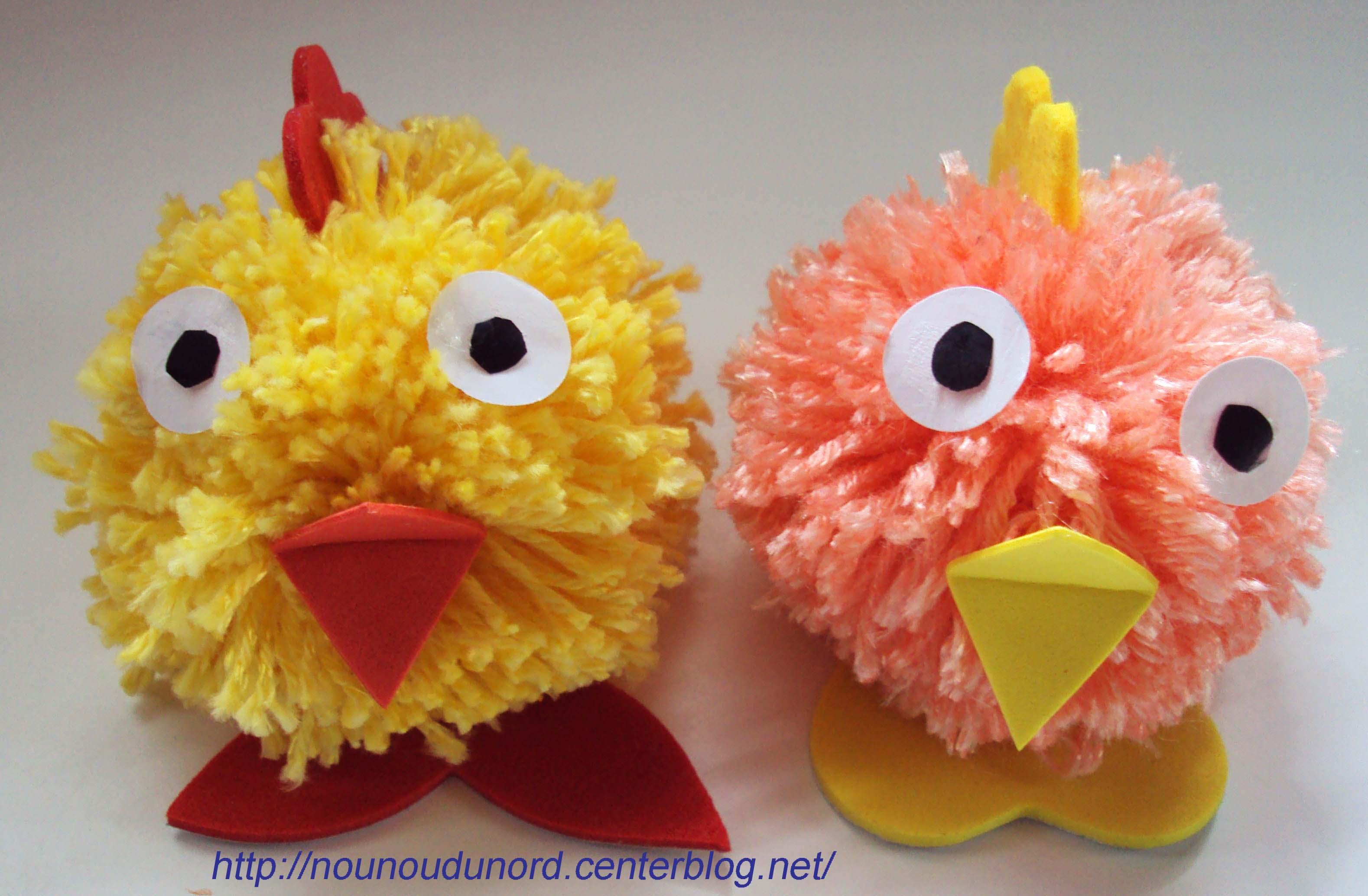 Les petits poussins de p ques en laine 2010 - Poussin en pompon ...