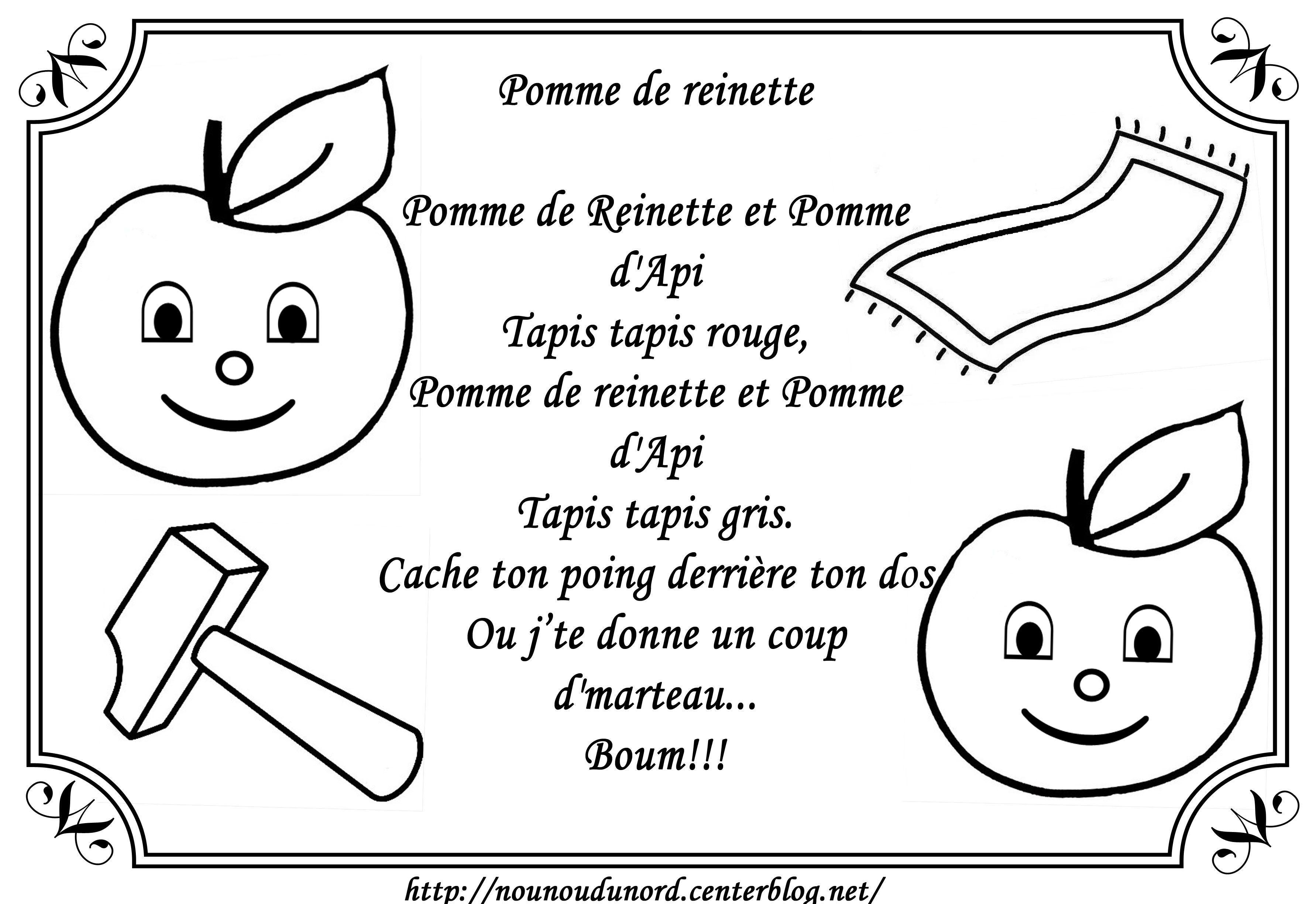 Comptine Pomme De Reinette à Colorier
