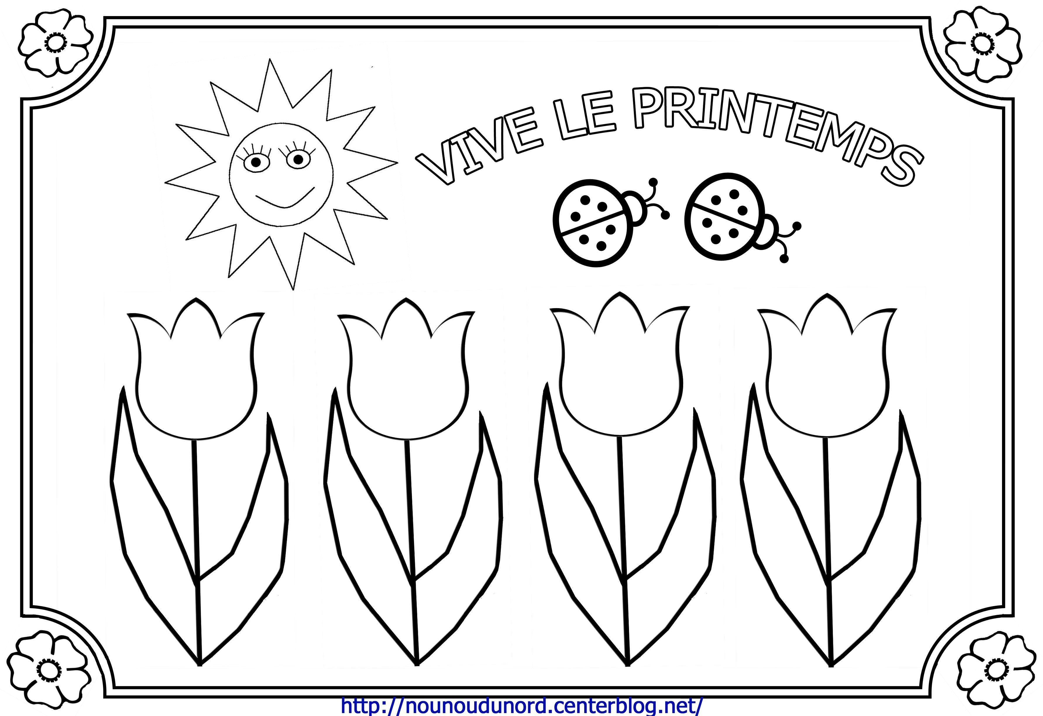 Coloriage Printemps Gratuit.Coloriage Printemps Champs De Tulipes Par Nounoudunord
