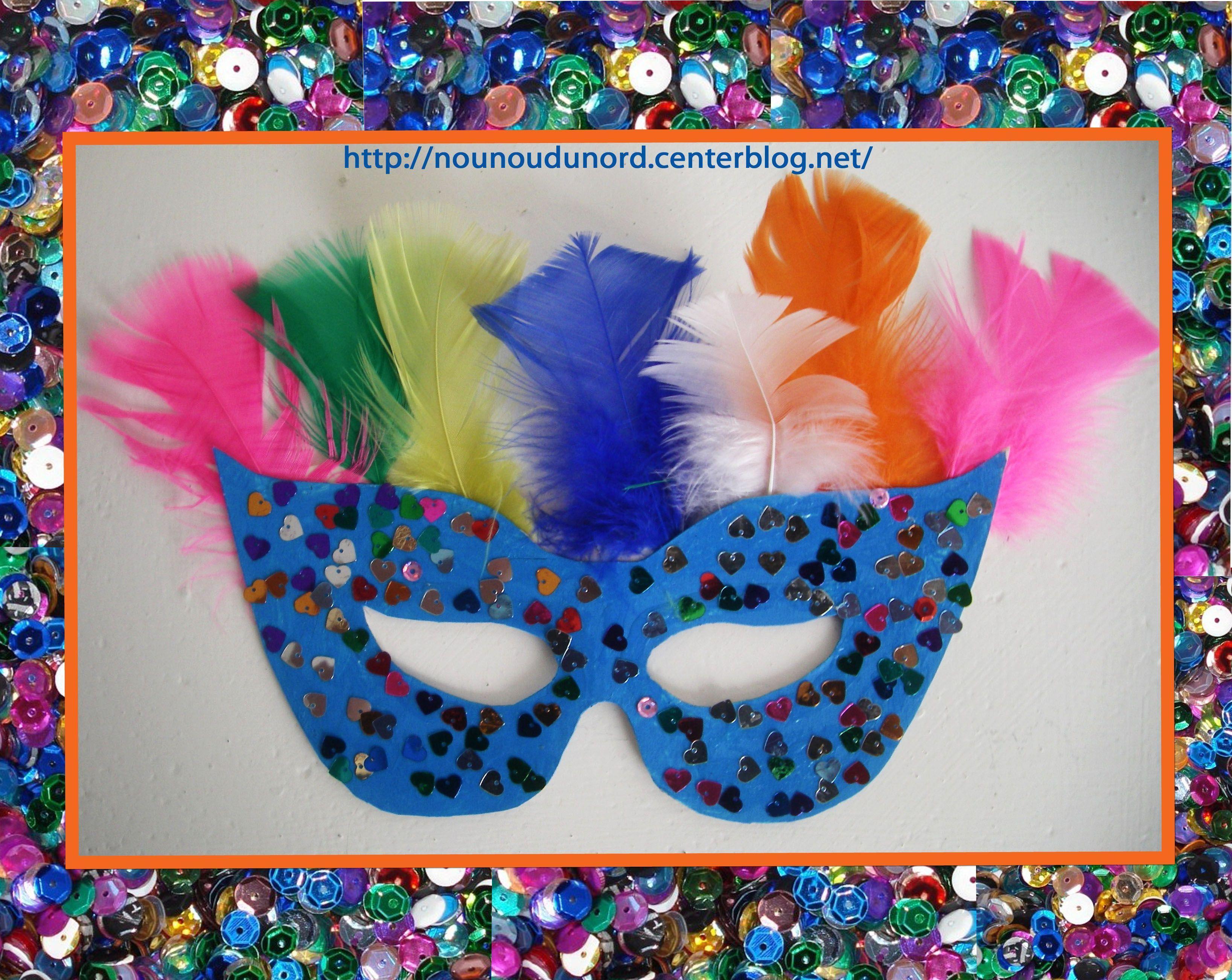 Masque loup bleu paillettes et plumes f vrier 2013 - Masque loup a imprimer ...