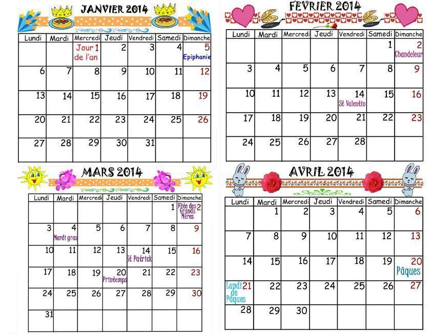 Calendrier 2014 Sur 4 Mois De Janvier Avril