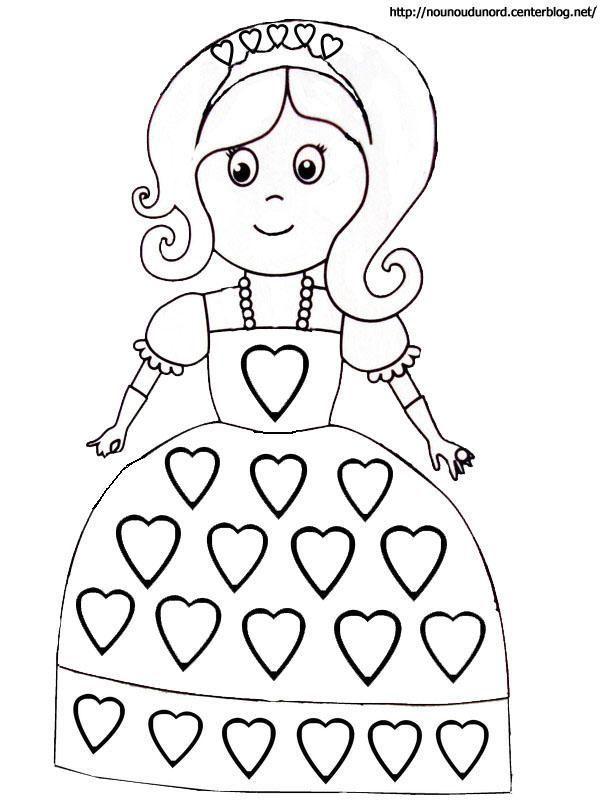 Coloriage coeurs st valentin - Princesse dessin facile ...