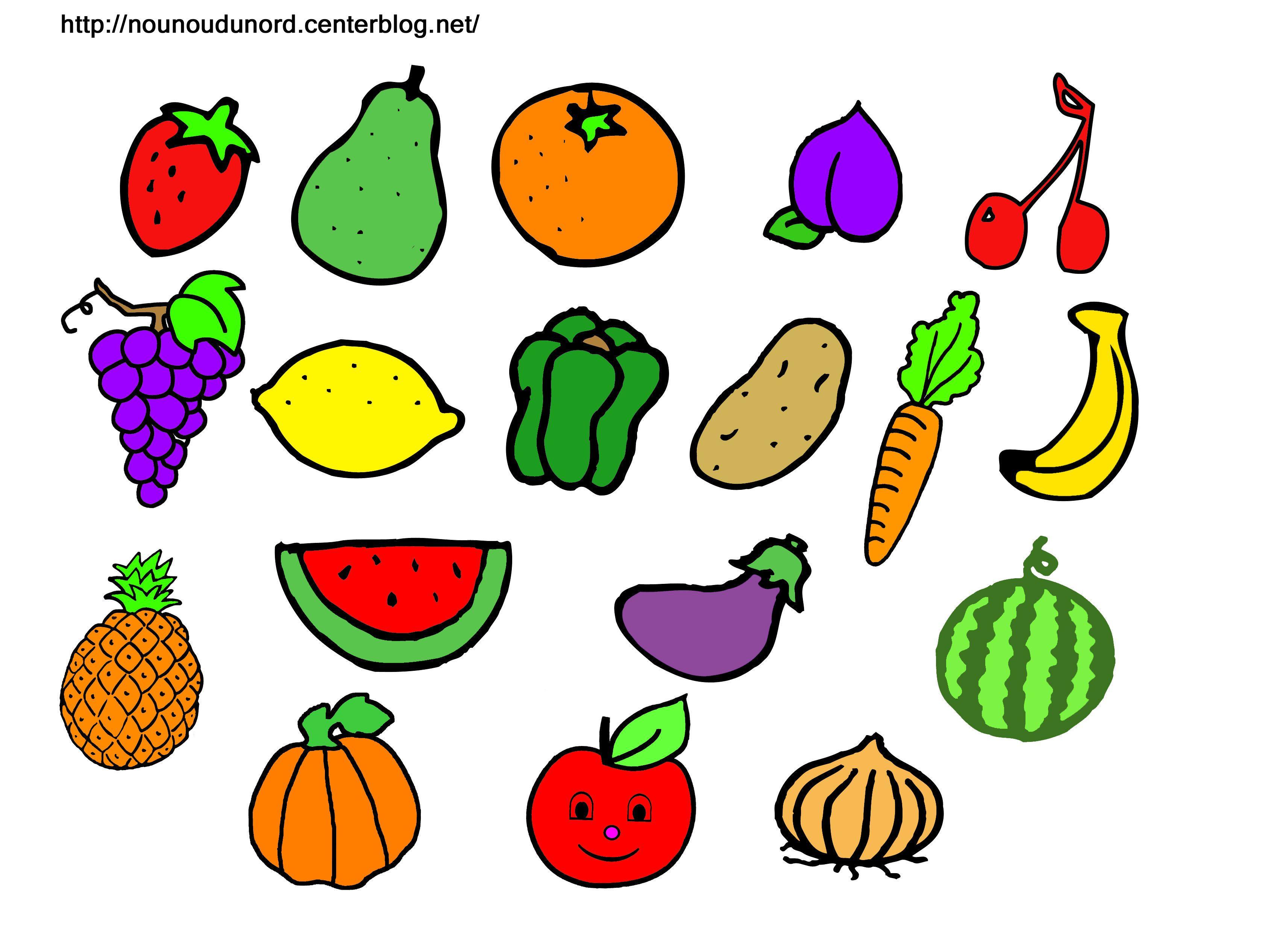 Image fruits legumes ect - Fruits coloriage ...