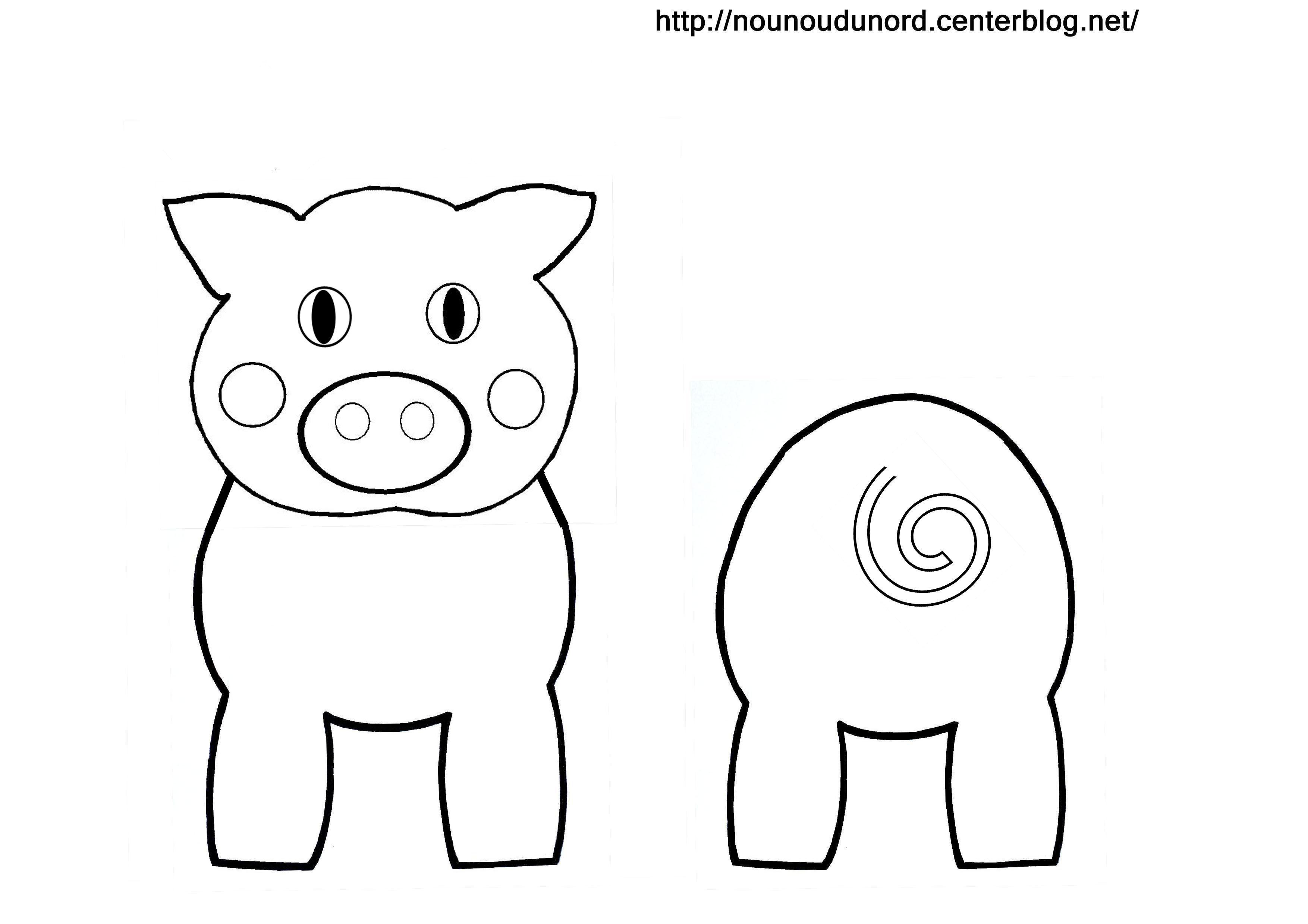 Coloriage animaux pour rouleau wc - Dessin cochon ...