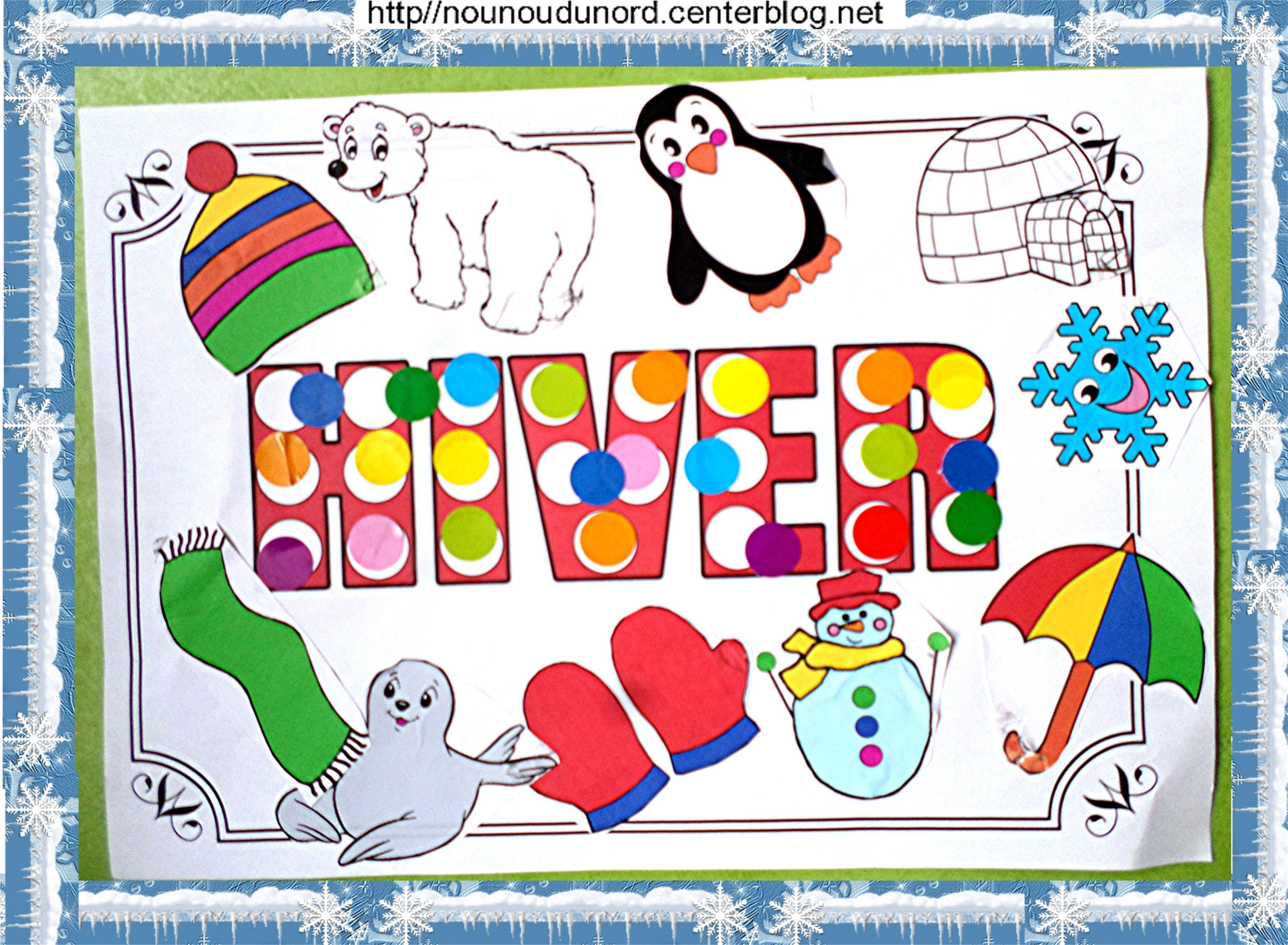 Activit collage sur le th me de l 39 hiver - Activite hiver maternelle ...