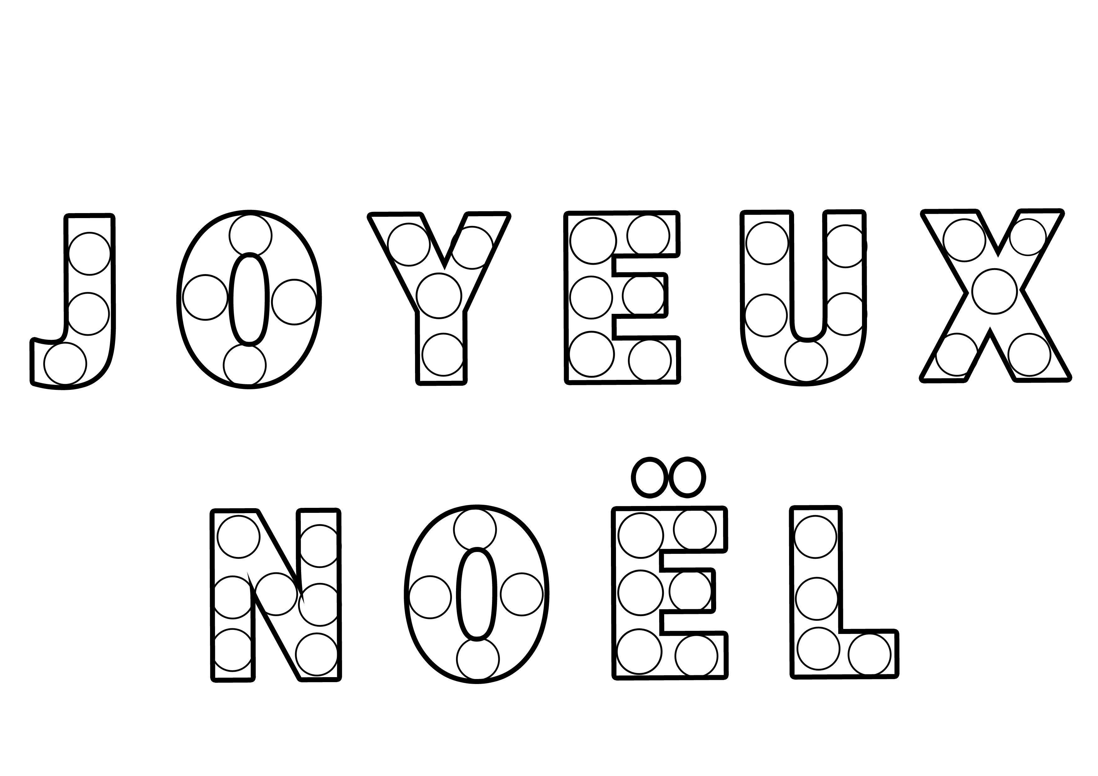 Coloriage texte gommettes joyeux no l - Dessin theme noel ...