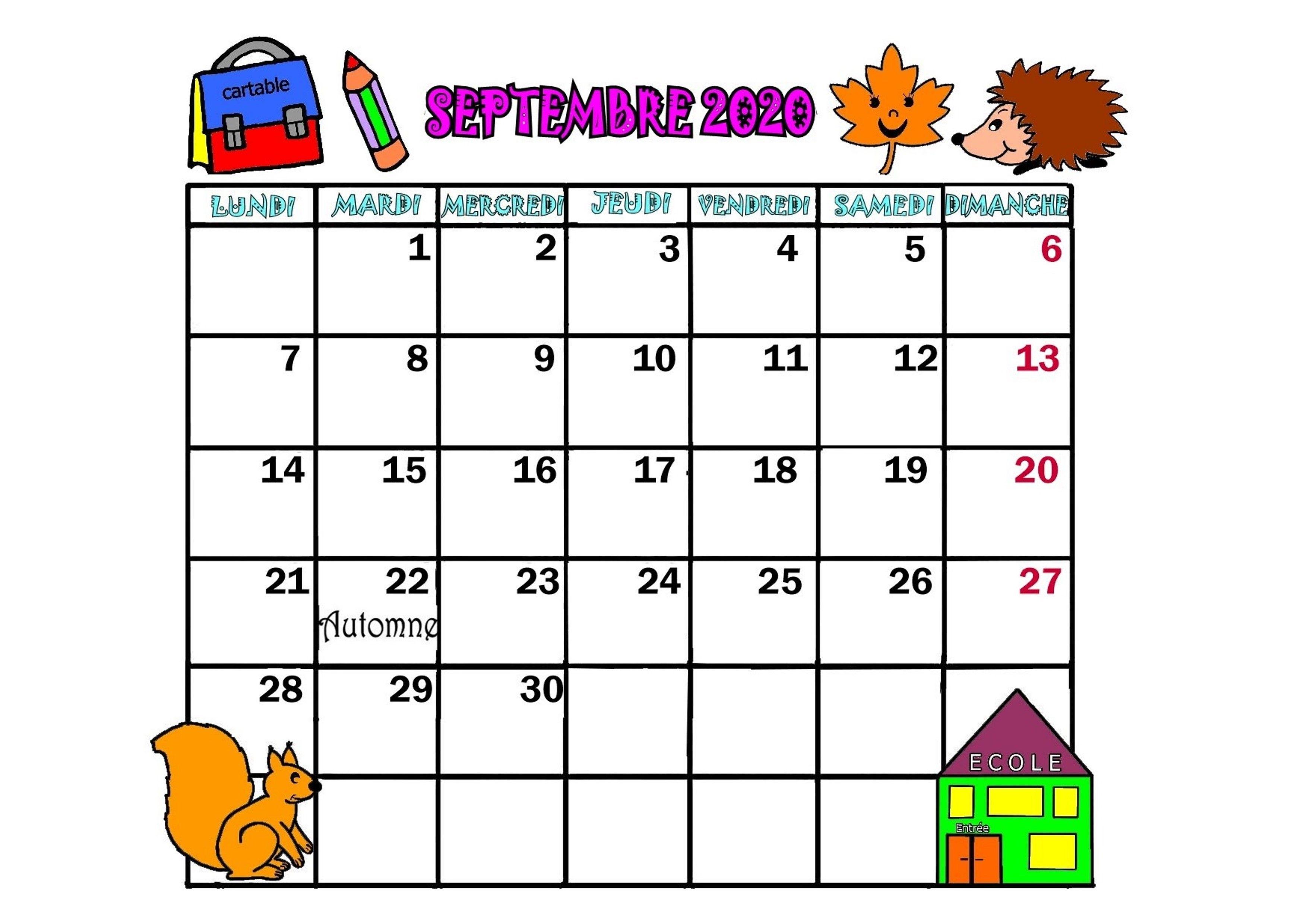 Calendrier Mois De Septembre.Calendrier Annee 2020 Mois De Septembre