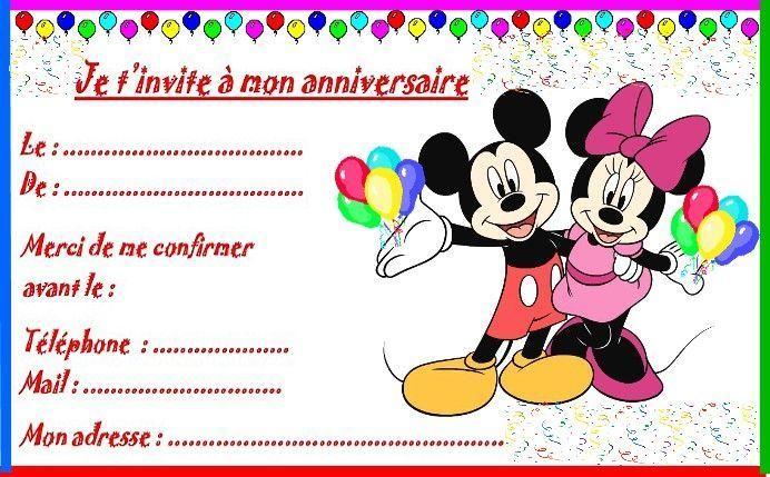 Carte Anniversaire Mickey.Etiquettes Invitations Mickey Et Minnie Pour Anniversaire
