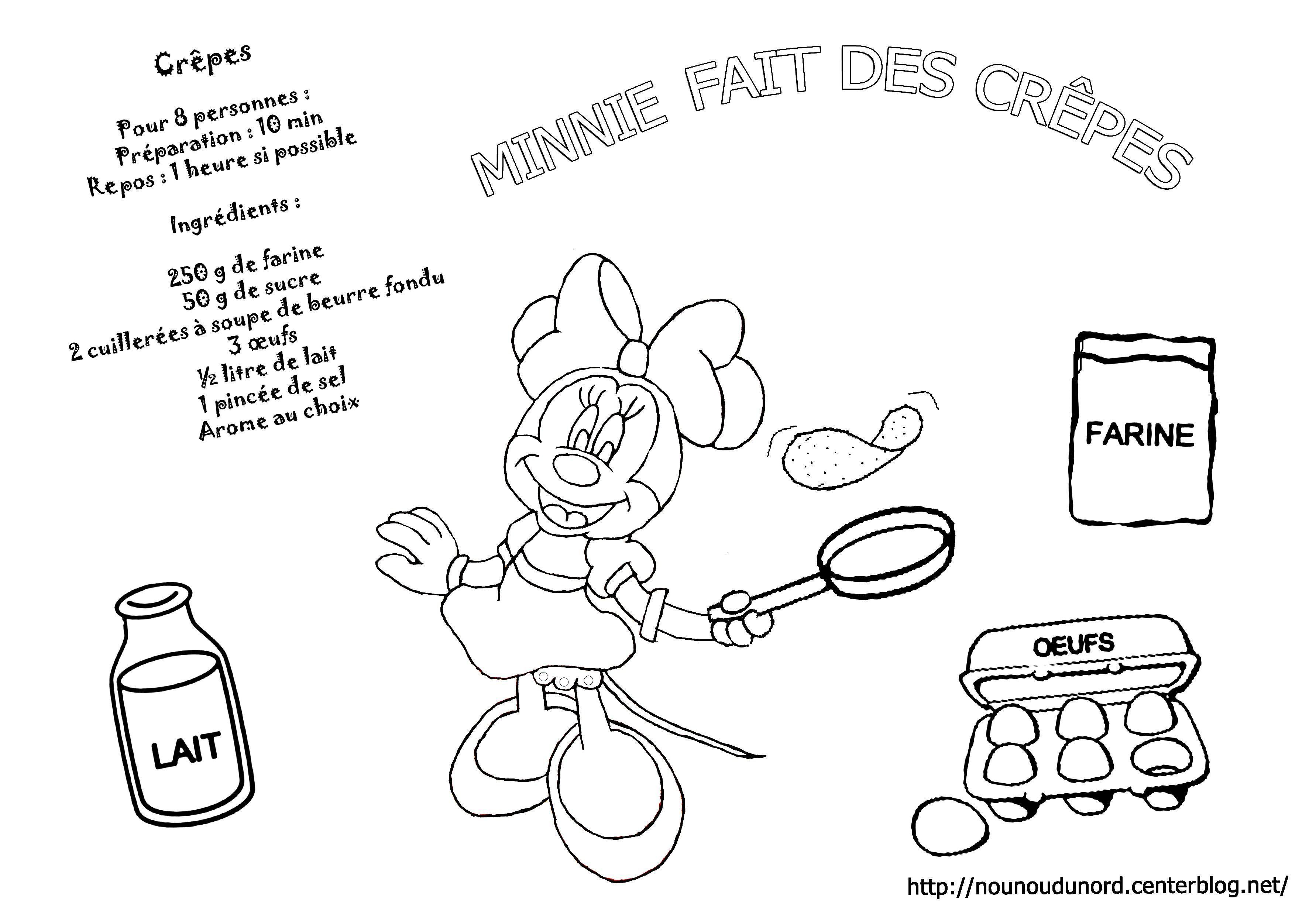 Coloriage Minnie Fait Des Crepes Dessine Par Nounoudunord