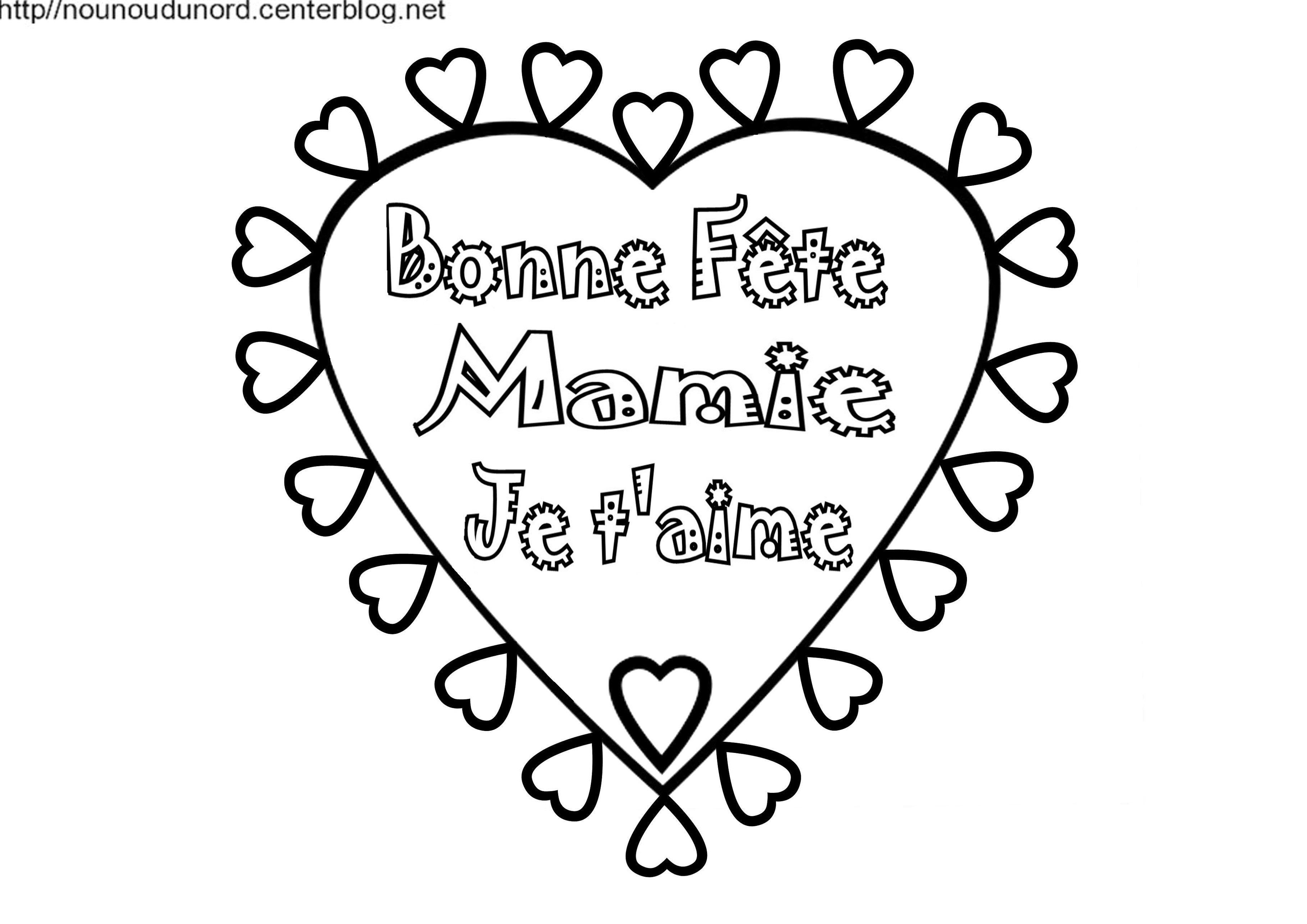 Coeur Bonne Fête Mamie Coloriage Et En Coleur