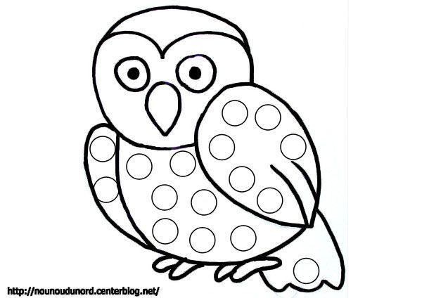 Coloriage gommettes le hibou dessin par nounoudunord - Dessins hibou ...