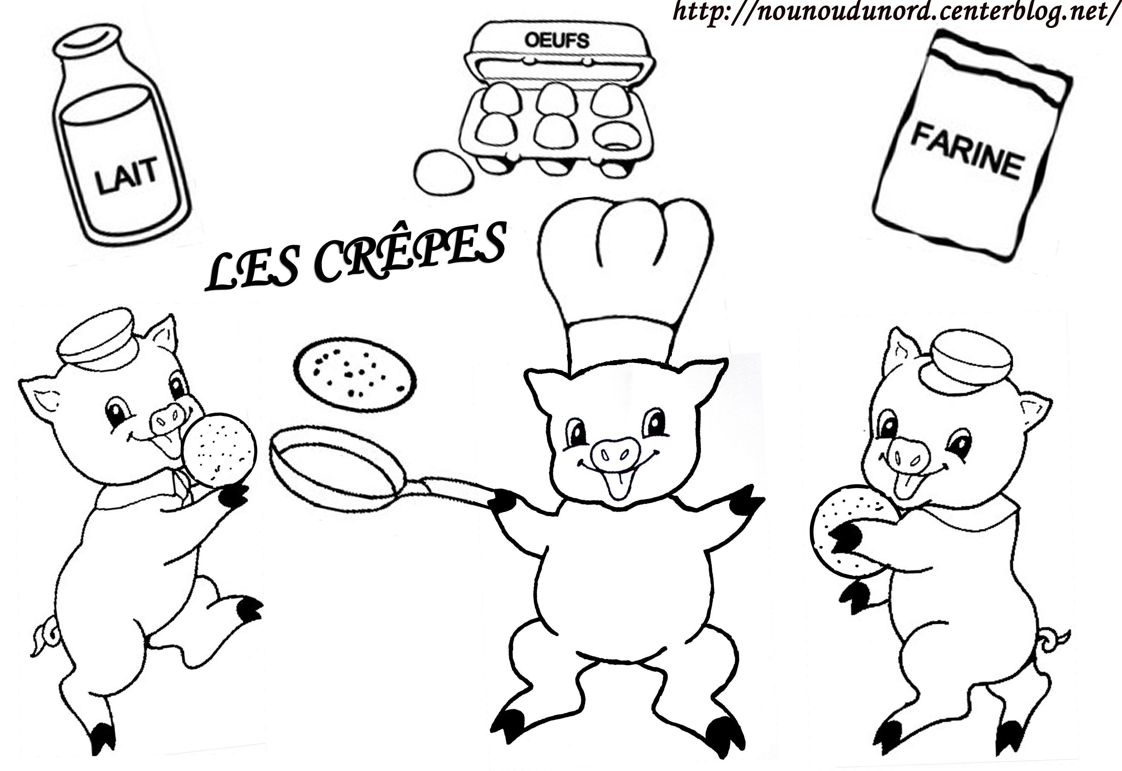 Coloriage des 3 petits cochons qui font des crepes - Coloriage trois petits cochons ...