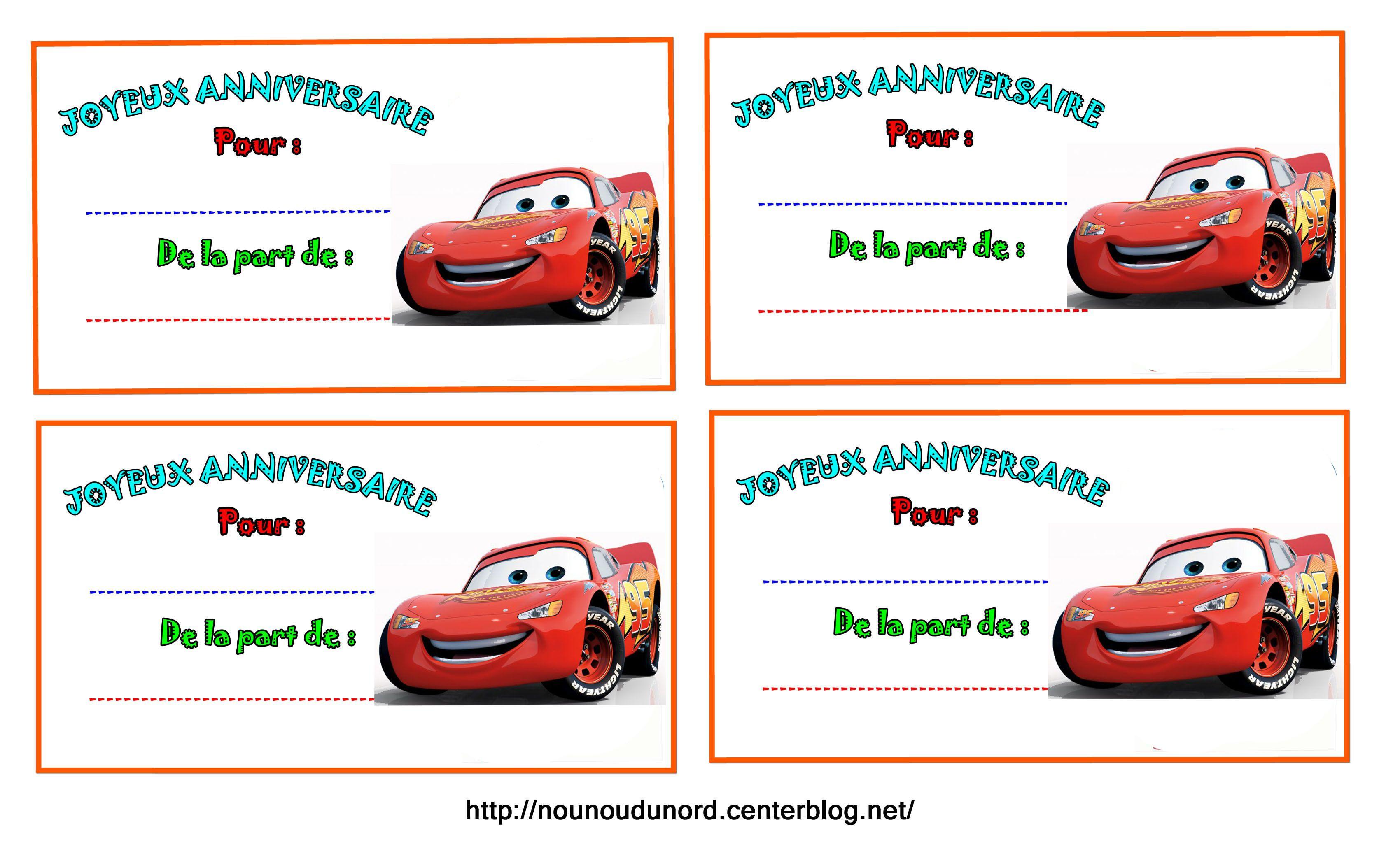 Etiquettes cars pour les cadeaux d'anniversaire