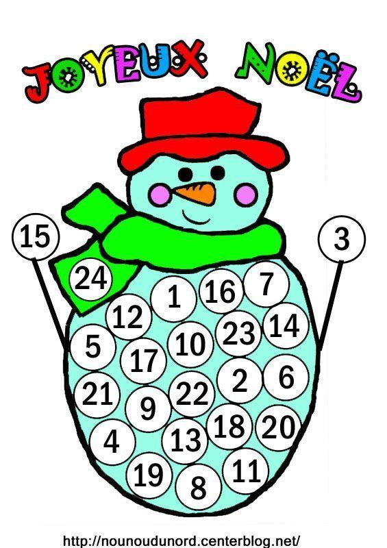 Bonhomme de neige calendrier de l 39 avent - Bricolage calendrier de l avent ...