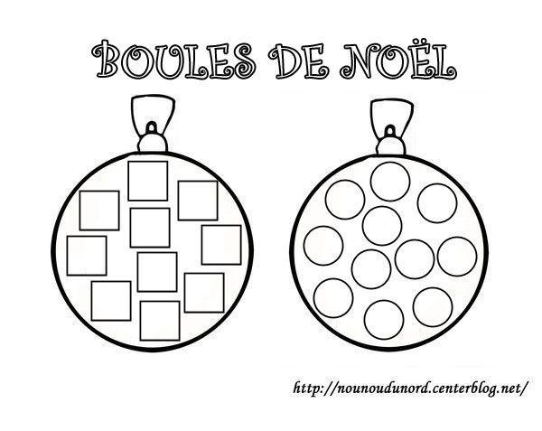 Dessin Boule De Noel.Coloriage Boules De Noël à Gommettes Carrés Et Rondes