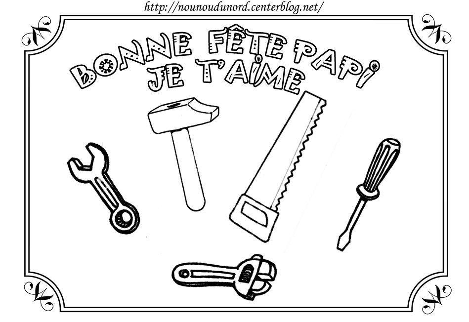 Coloriage bonne f te papi avec outils - Coloriage anniversaire papy ...