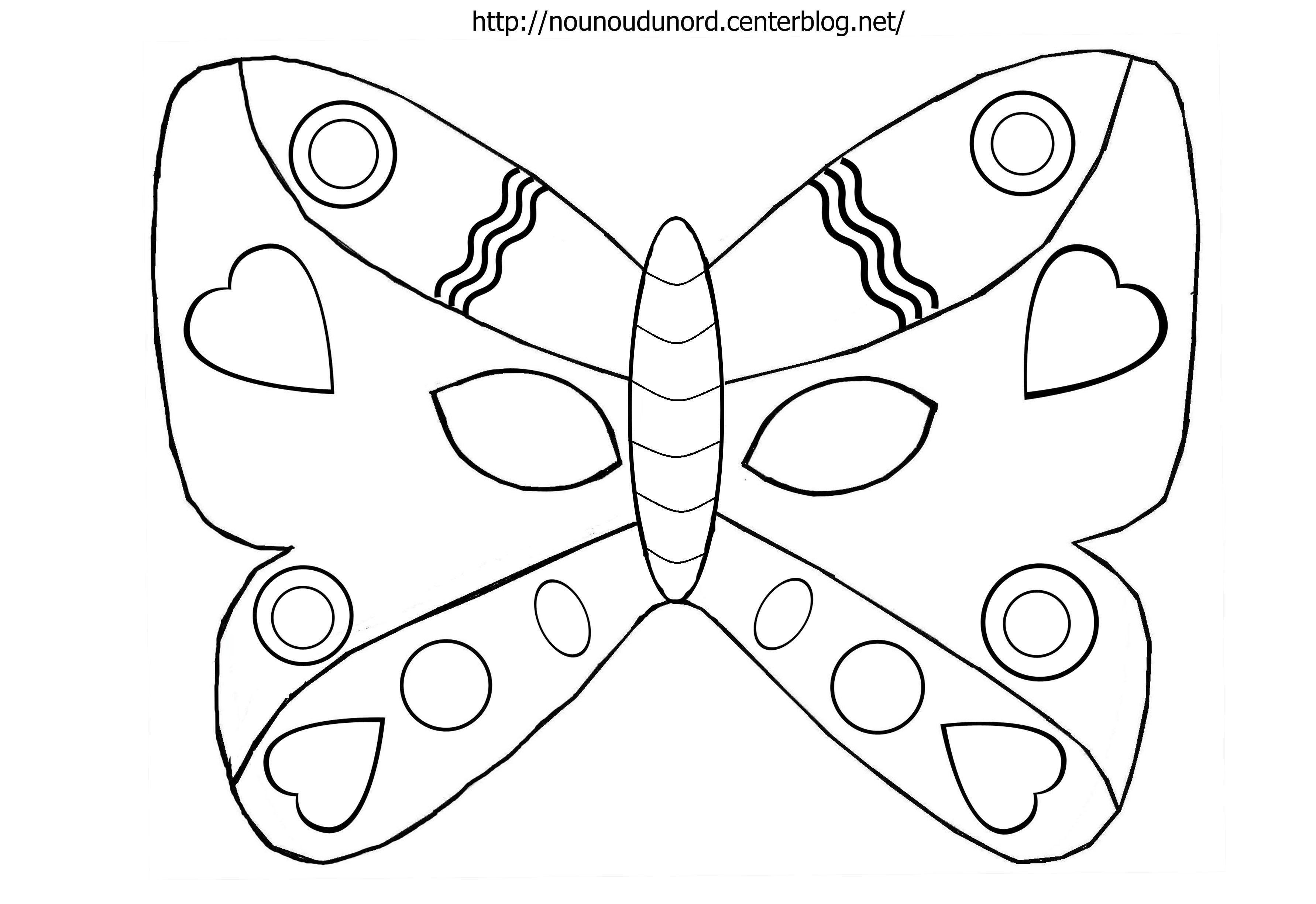 Masque Papillon à Colorier