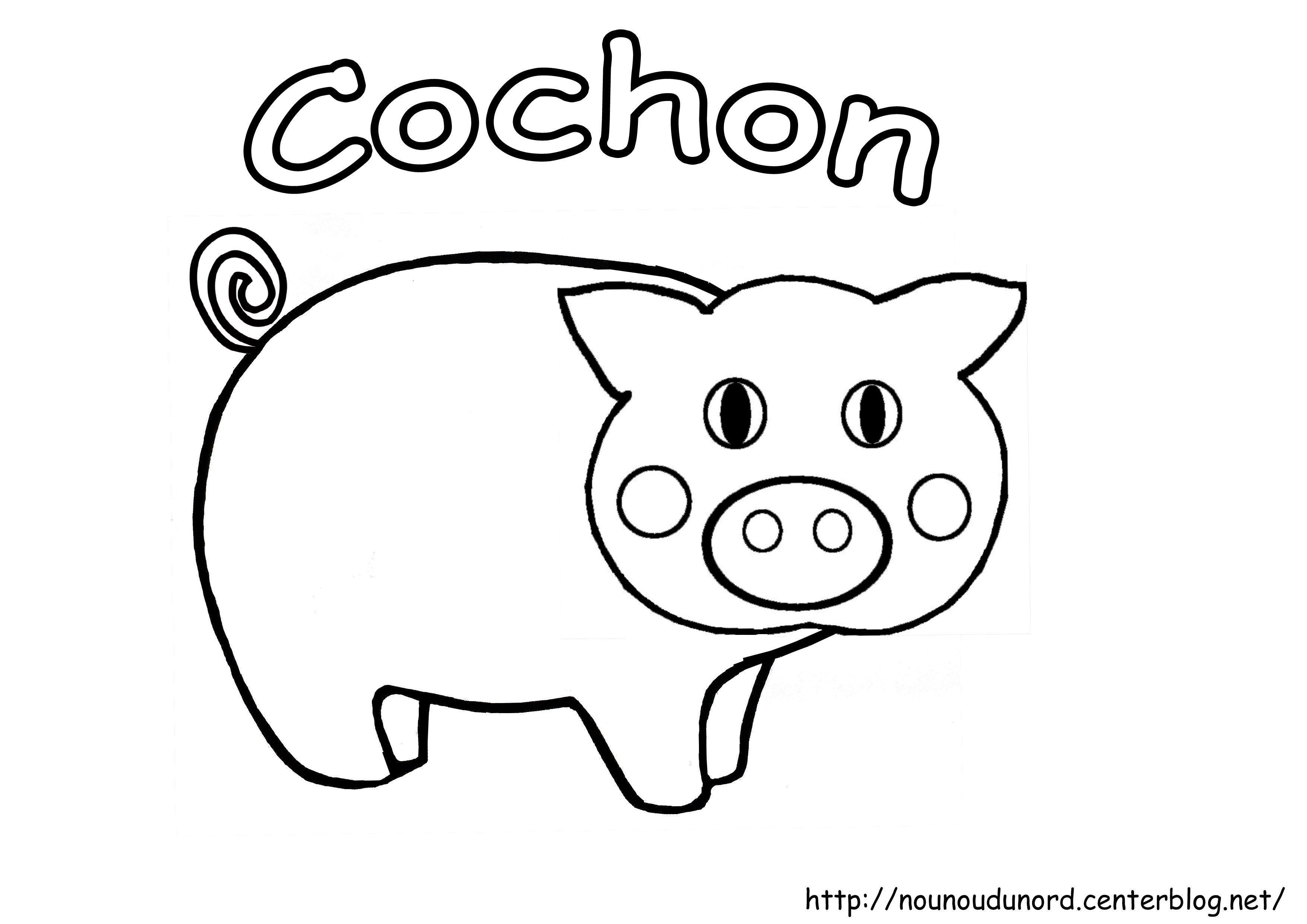Coloriage animaux de la ferme - Cochon a dessiner ...