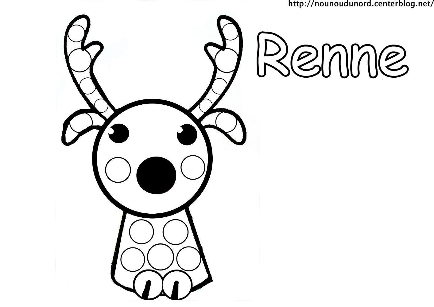Coloriage noel a gommettes page 2 - Renne coloriage ...