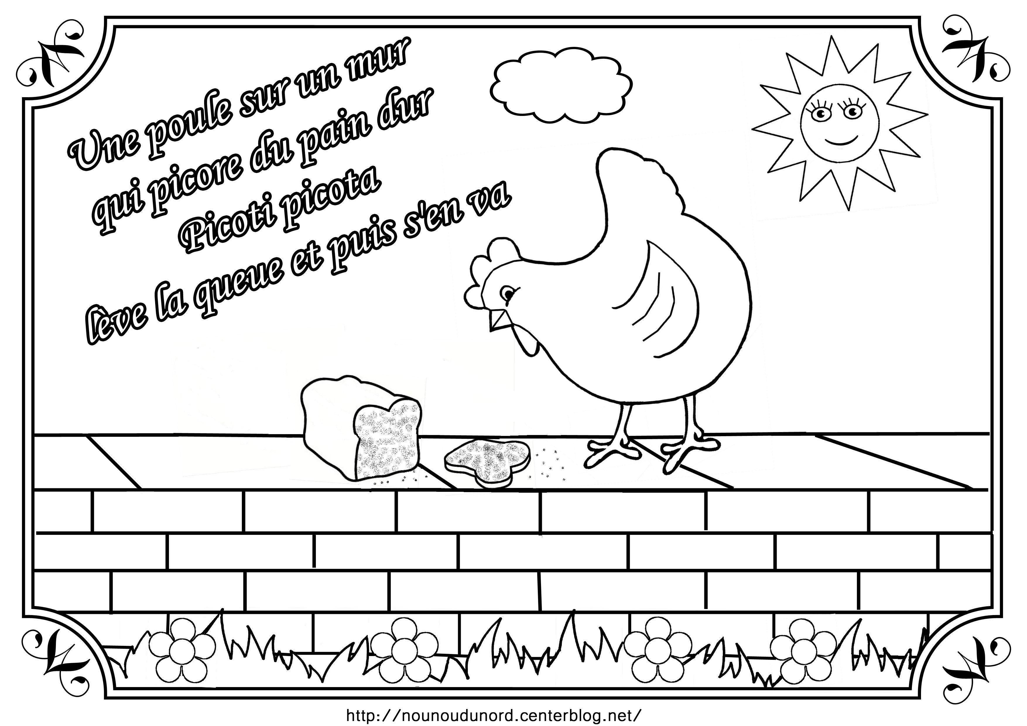 Comptine une poule sur un mur illustr e par nounoudunord for Par la fenetre ouverte comptine