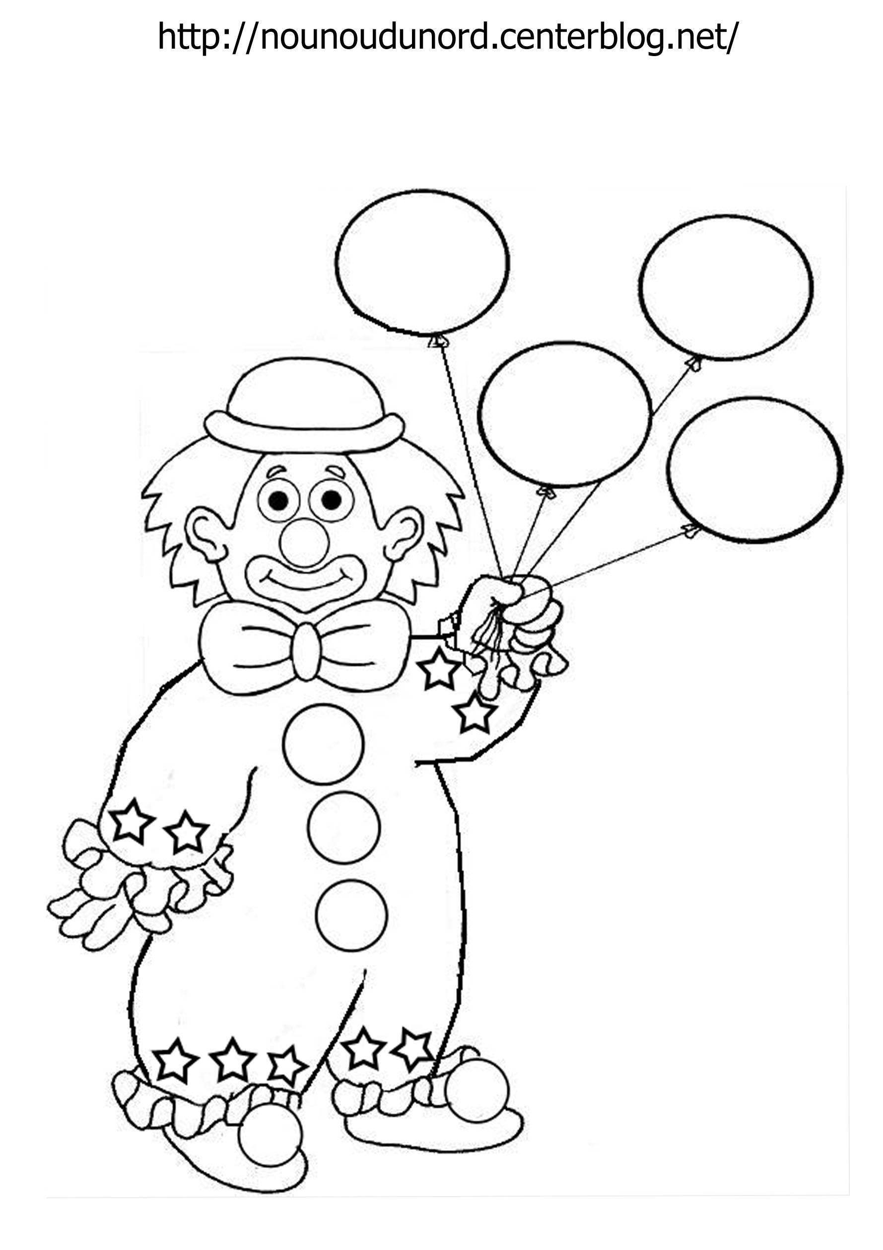 Coloriage clown ballon dessin par nounoudunord - Coloriages clown ...
