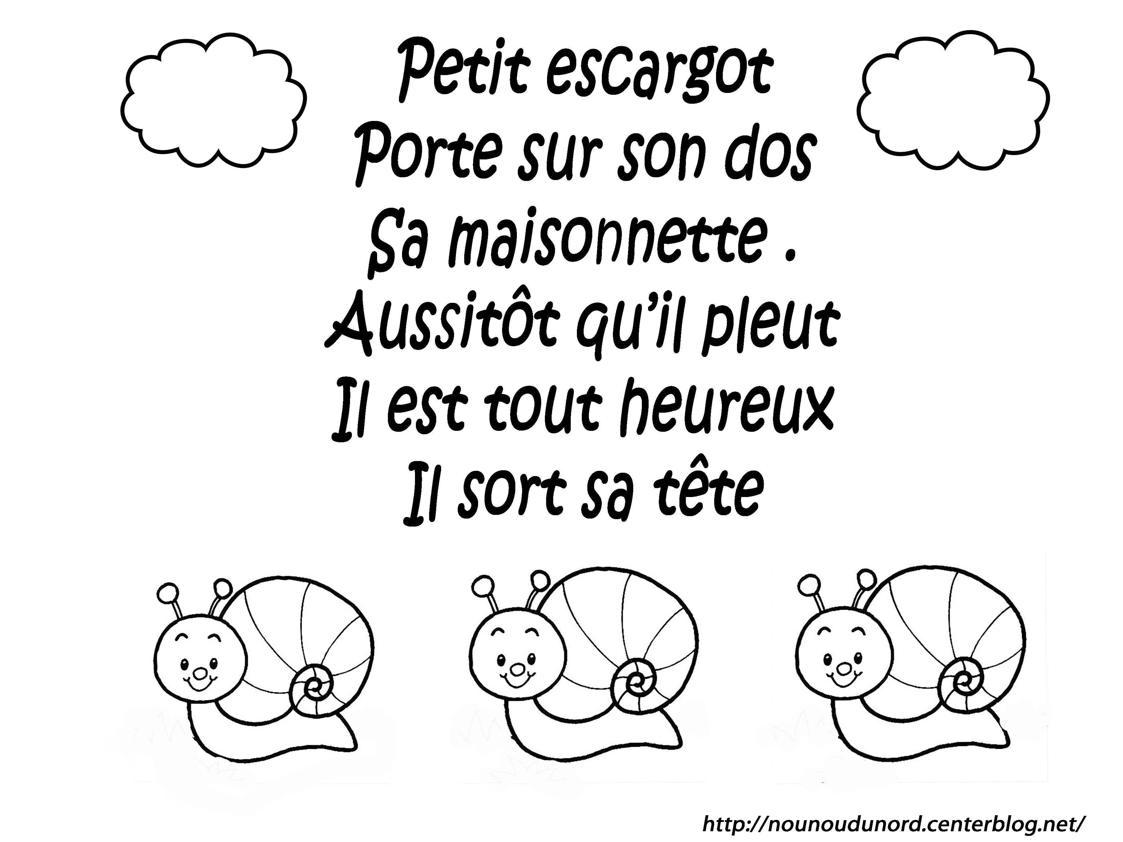Comptine a colorier page 4 - Escargot maternelle ...