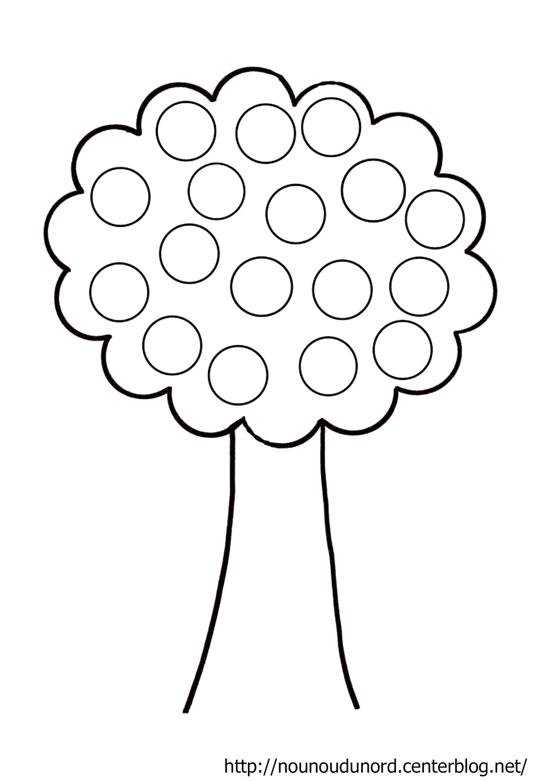 Coloriage arbre à gommettes dessiné par nounoudunord.