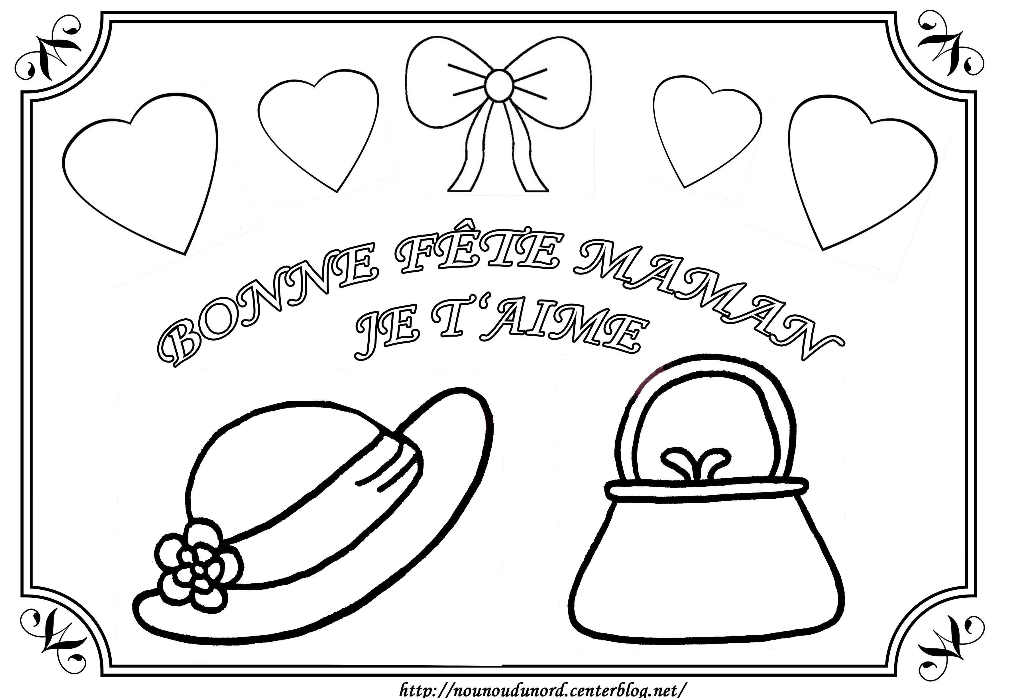 Coloriage tableau sac et chapeau pour la f te des m res - Coloriage fete des meres ...