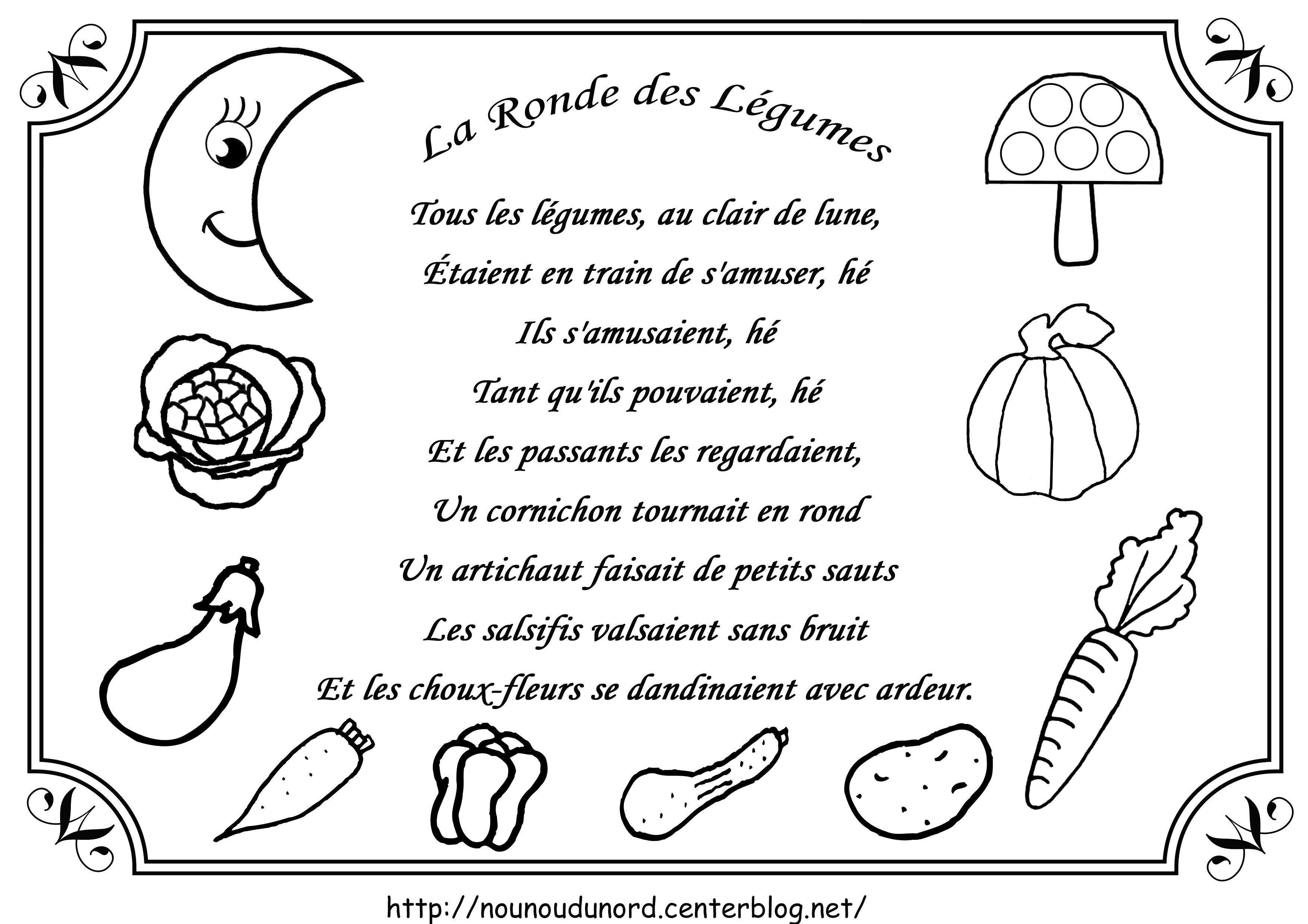Comptine la ronde des légumes illustrée par nounoudunord