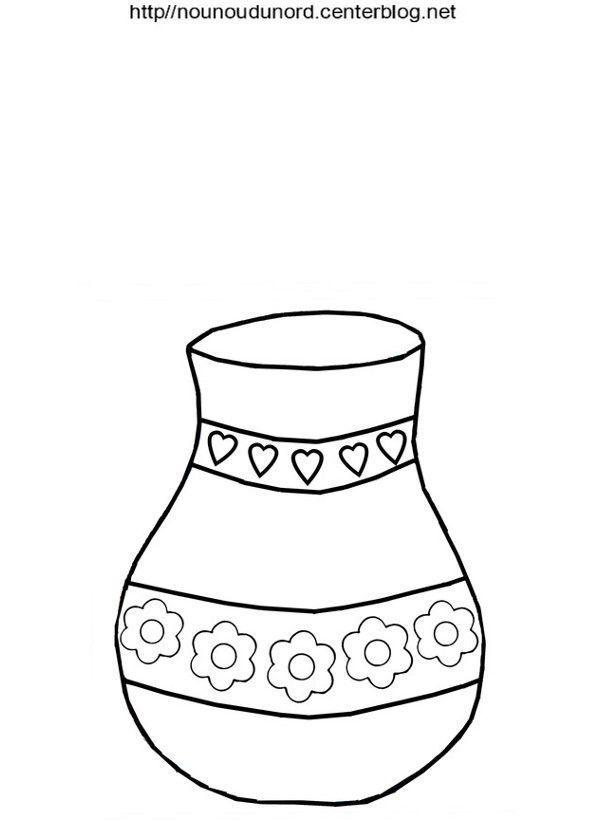 Vase en coloriage en couleur et pour es gommettes - Dessin de fleur en couleur ...