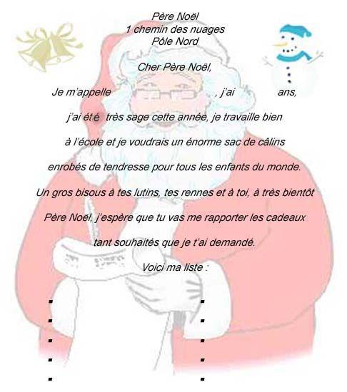 Une Lettre De Pere Noel.La Lettre Au Pere Noel