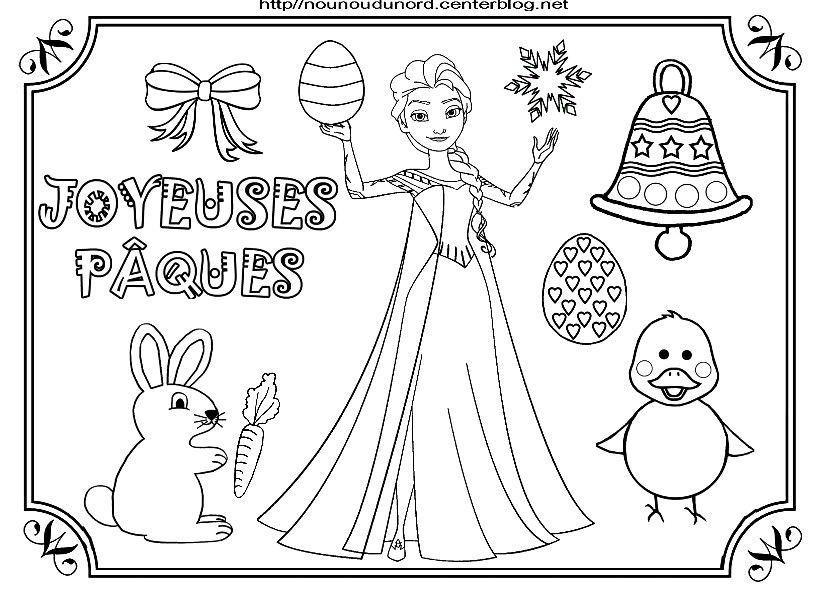 Reine Des Neige Elsa Et Olaf Coloriage De Paques