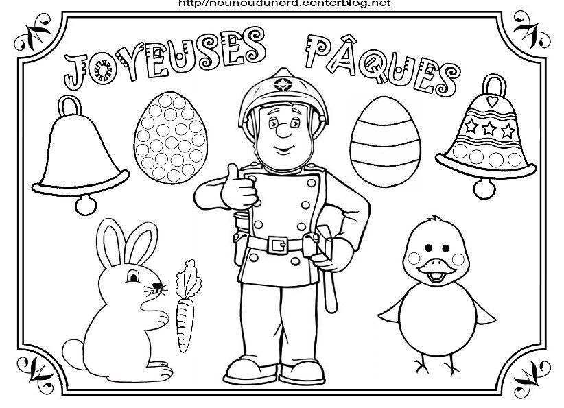 Coloriage paques heros des enfants - Coloriage de sam le pompier a imprimer ...