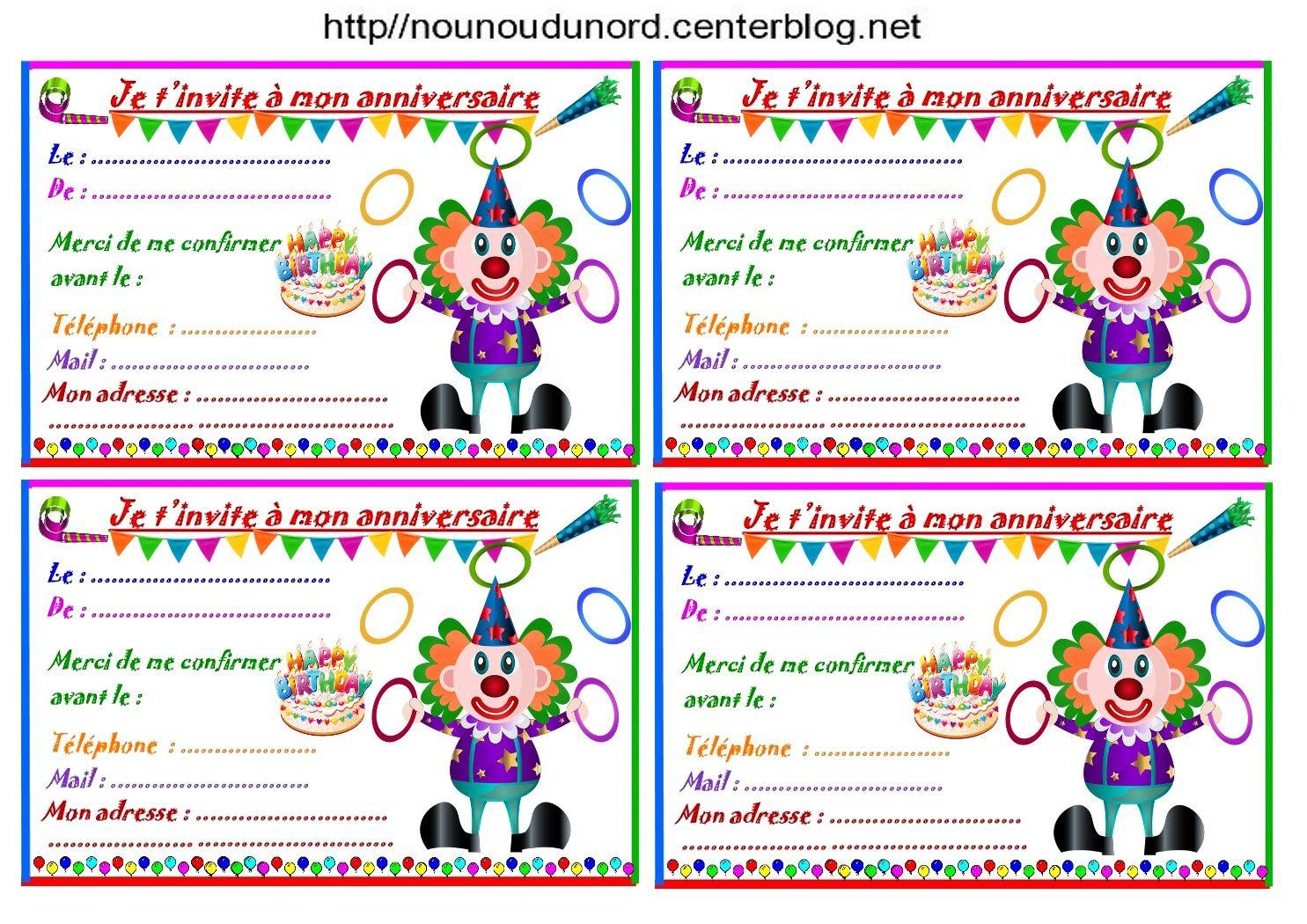 Etiquettes et invitations clown jongleur pour anniversaire - Photo de clown a imprimer ...