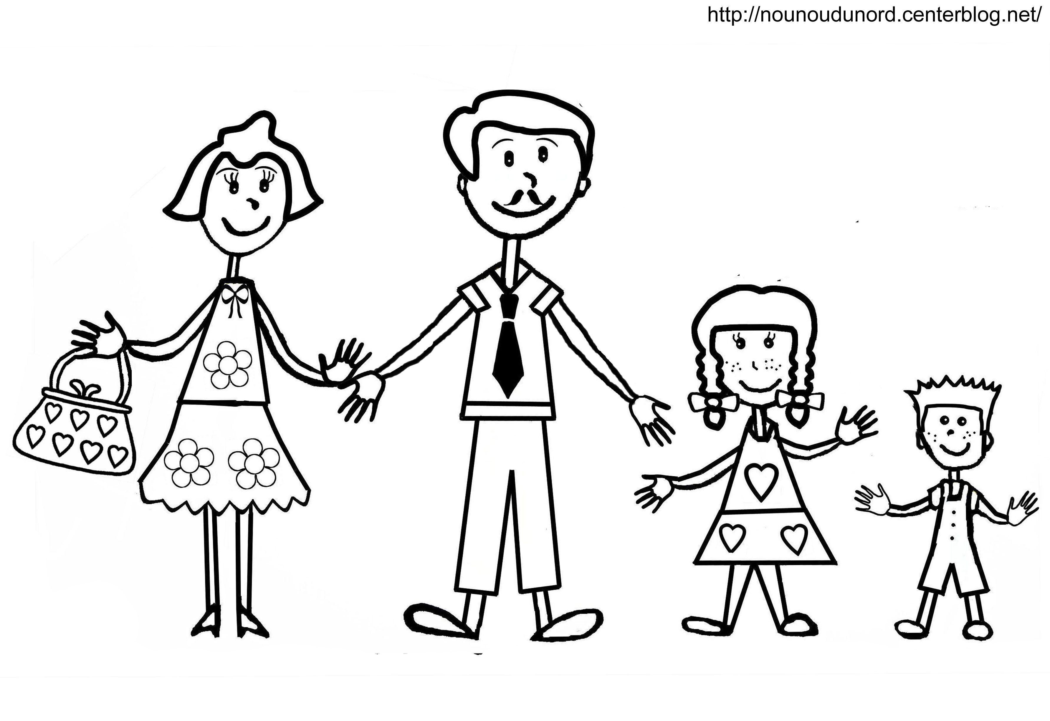 Coloriage maman papa et les enfants par nounoudunord - Coloriage de maman ...