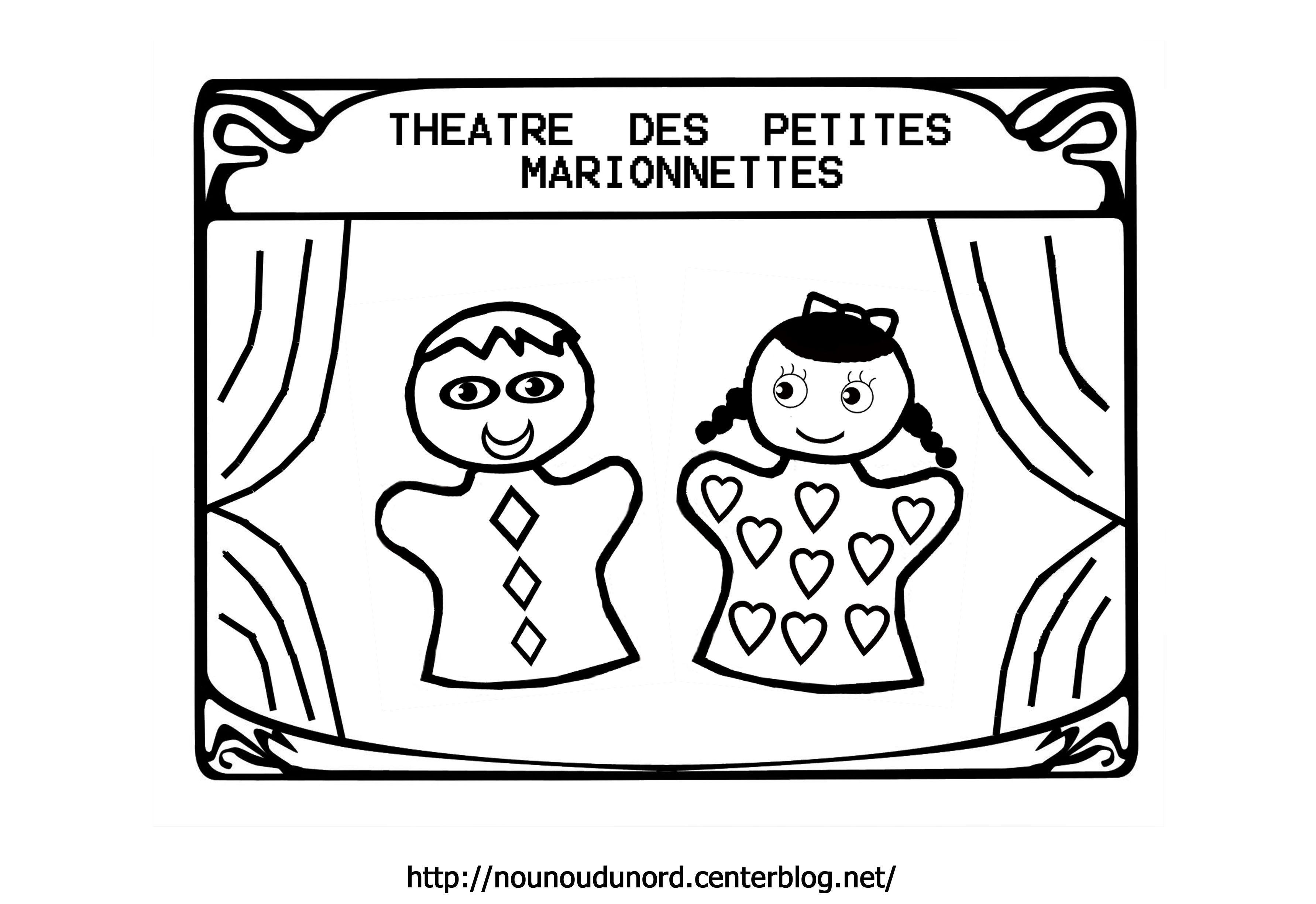 Coloriage th atre de marionnettes - Dessin de theatre ...