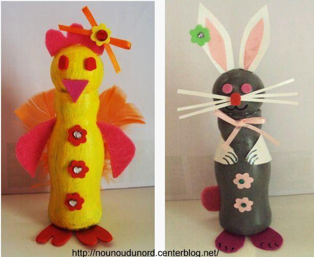 Poule coquette et jolie lapine avec des bouteilles 2010 - Activite manuelle recyclage ...