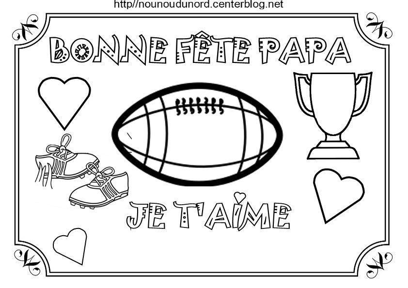 Coloriage Theme Foot.Coloriage Bonne Fete Papa Theme Foot Basket Rugby