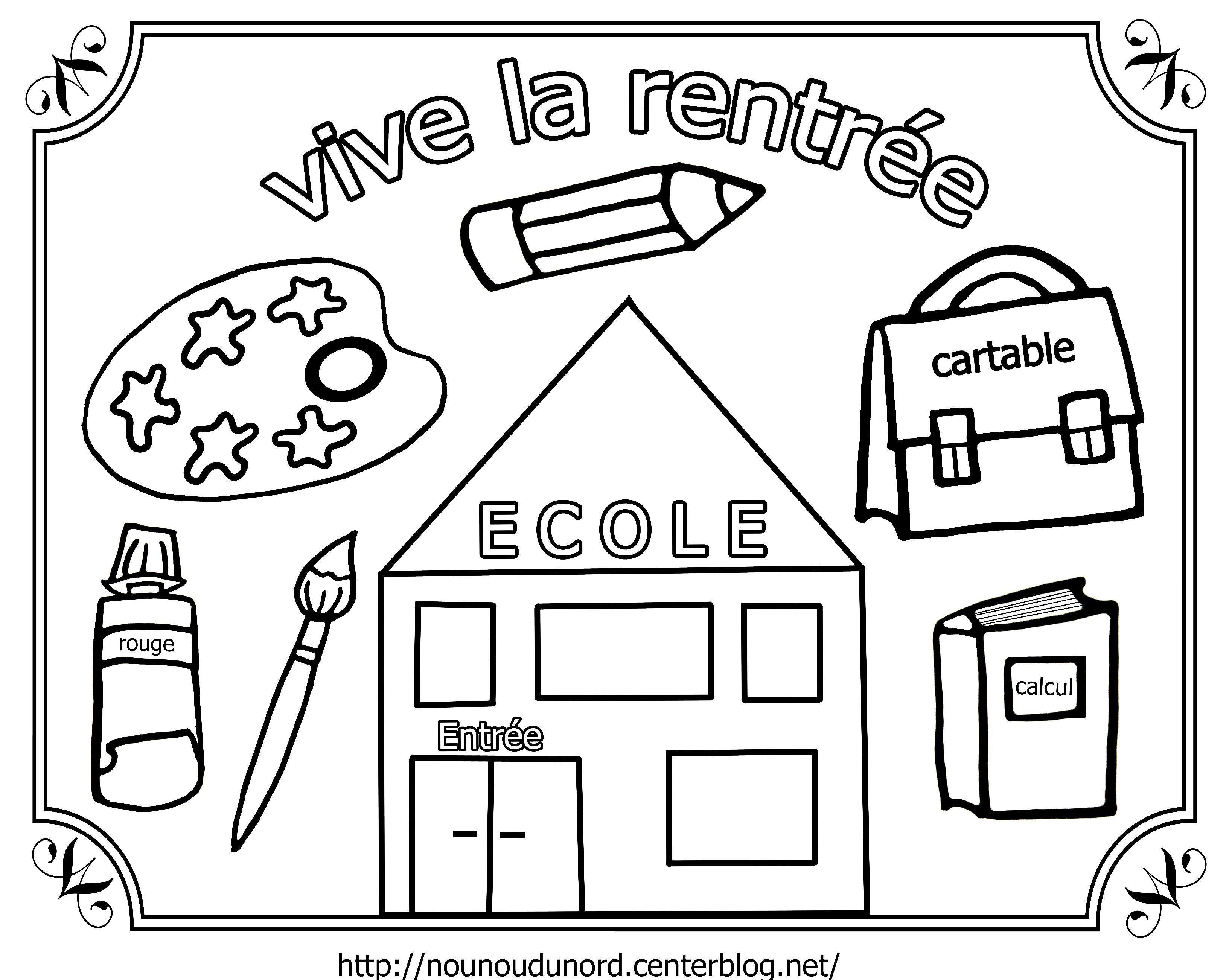 Coloriage vive la rentr e dessin par nounoudunord - Decoration des classes pour la rentree scolaire ...