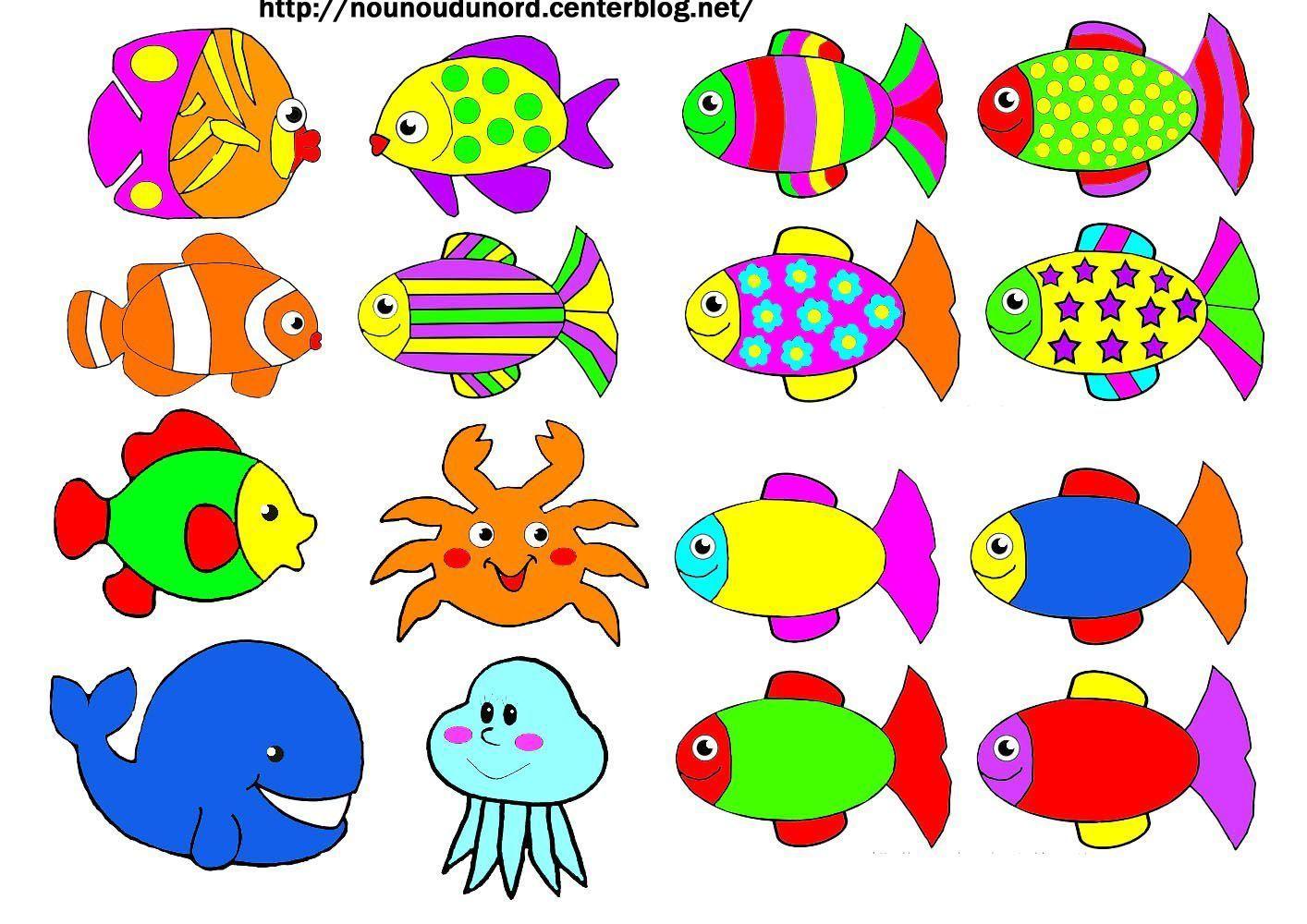Gommettes poissons en coloriage et en couleur