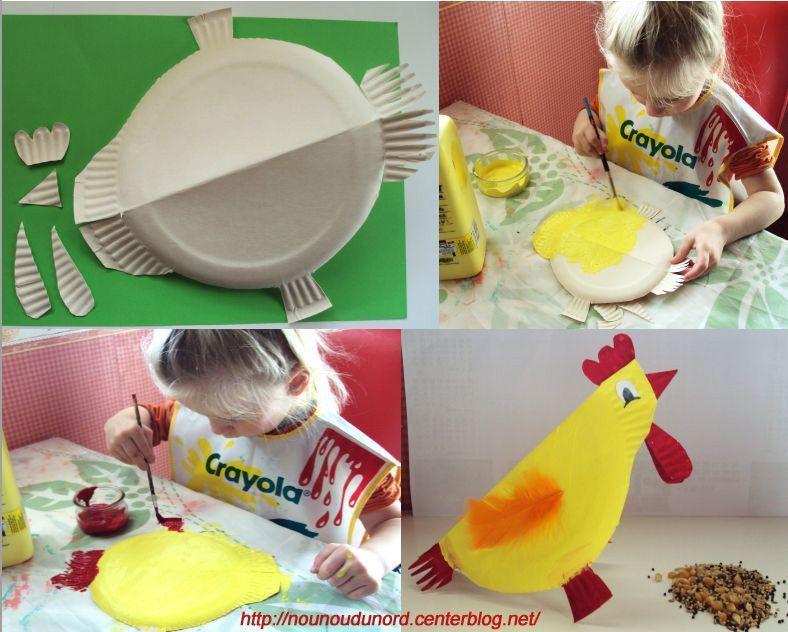 Explications poule r alis e avec une assiette carton - Activite manuelle assiette en carton ...